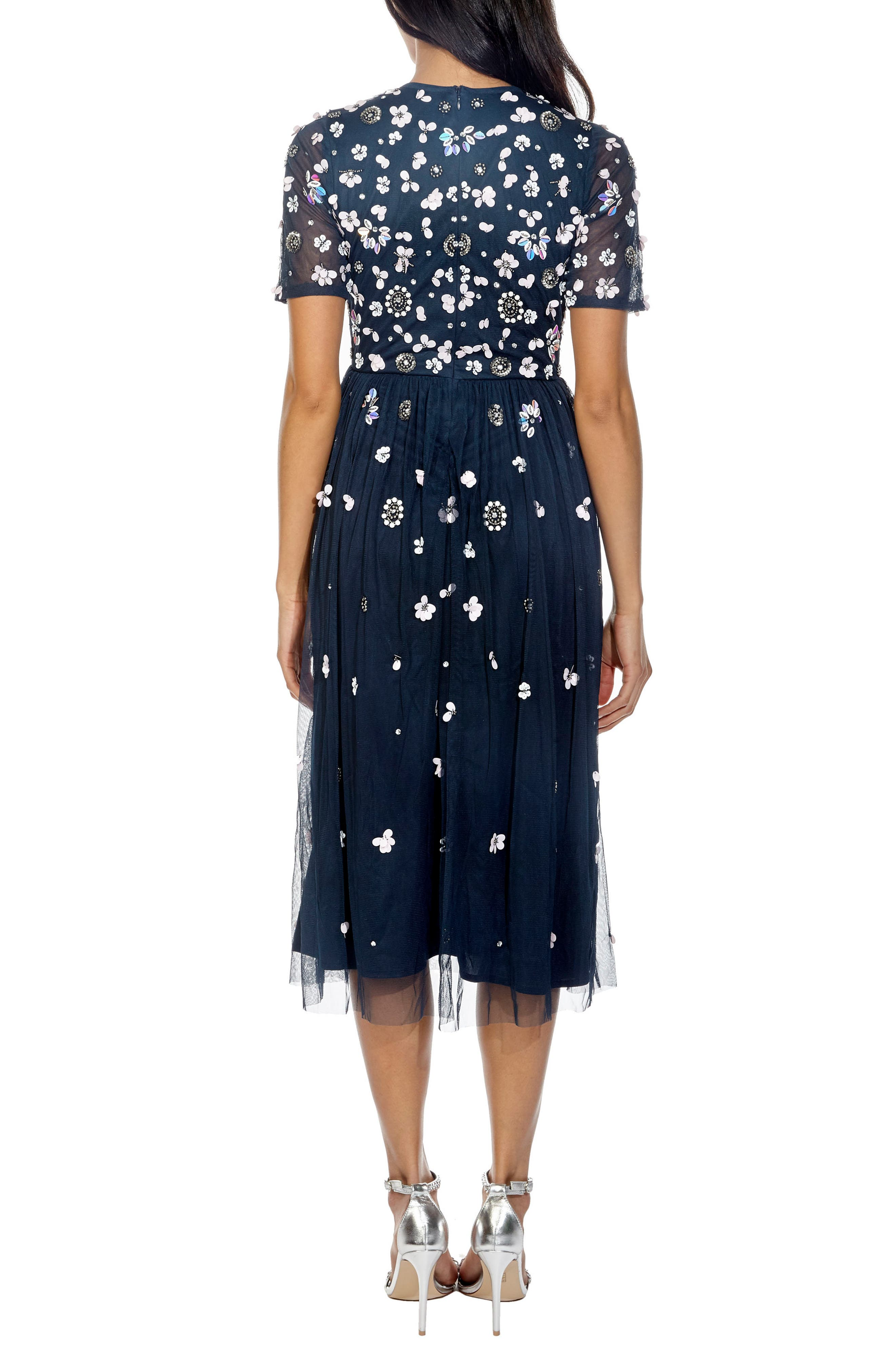 Baby Sequin Midi Dress,                             Alternate thumbnail 2, color,                             Navy