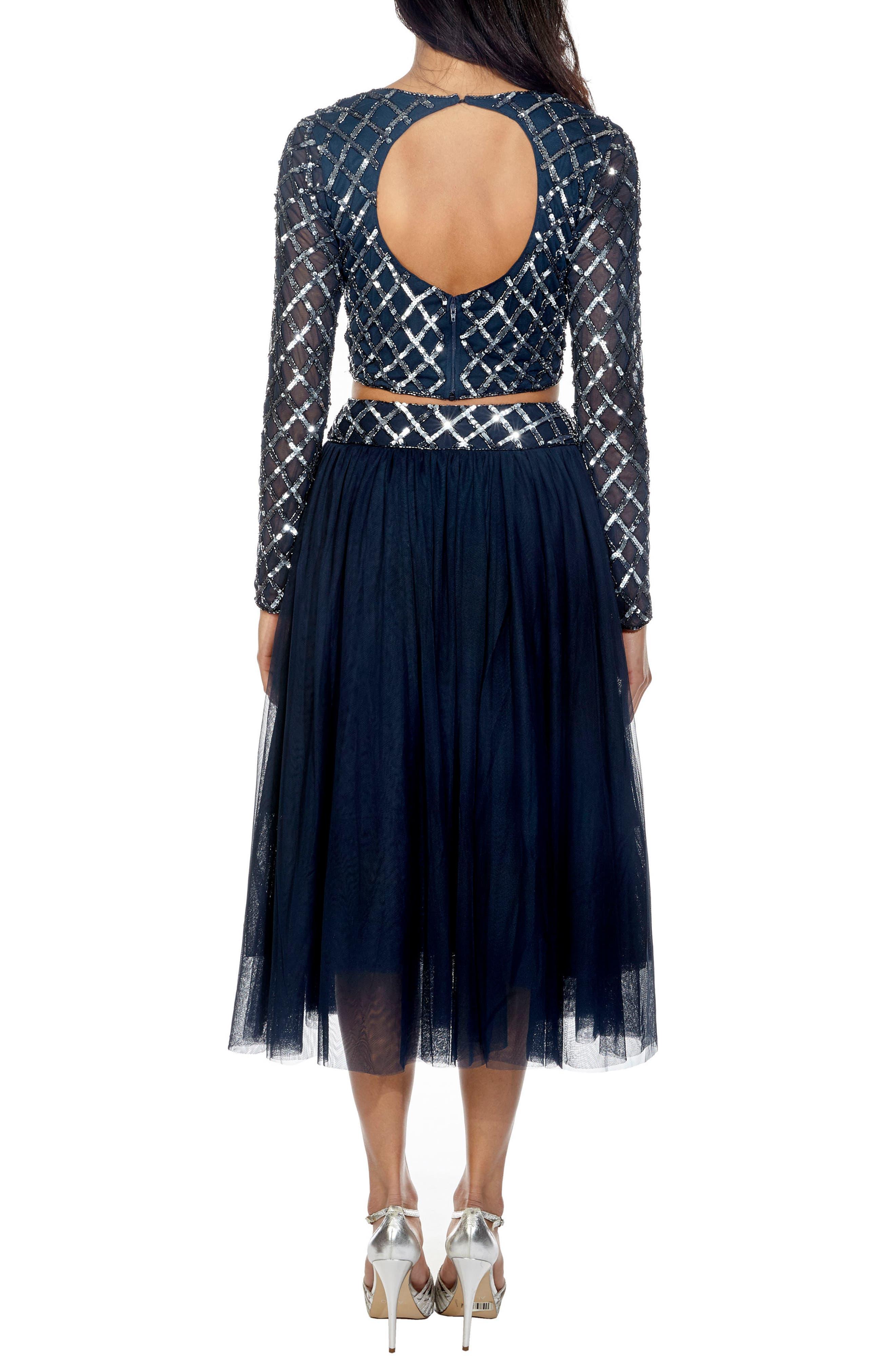 Carmel Sequin Top & Tulle Skirt Combo,                             Alternate thumbnail 2, color,                             Navy