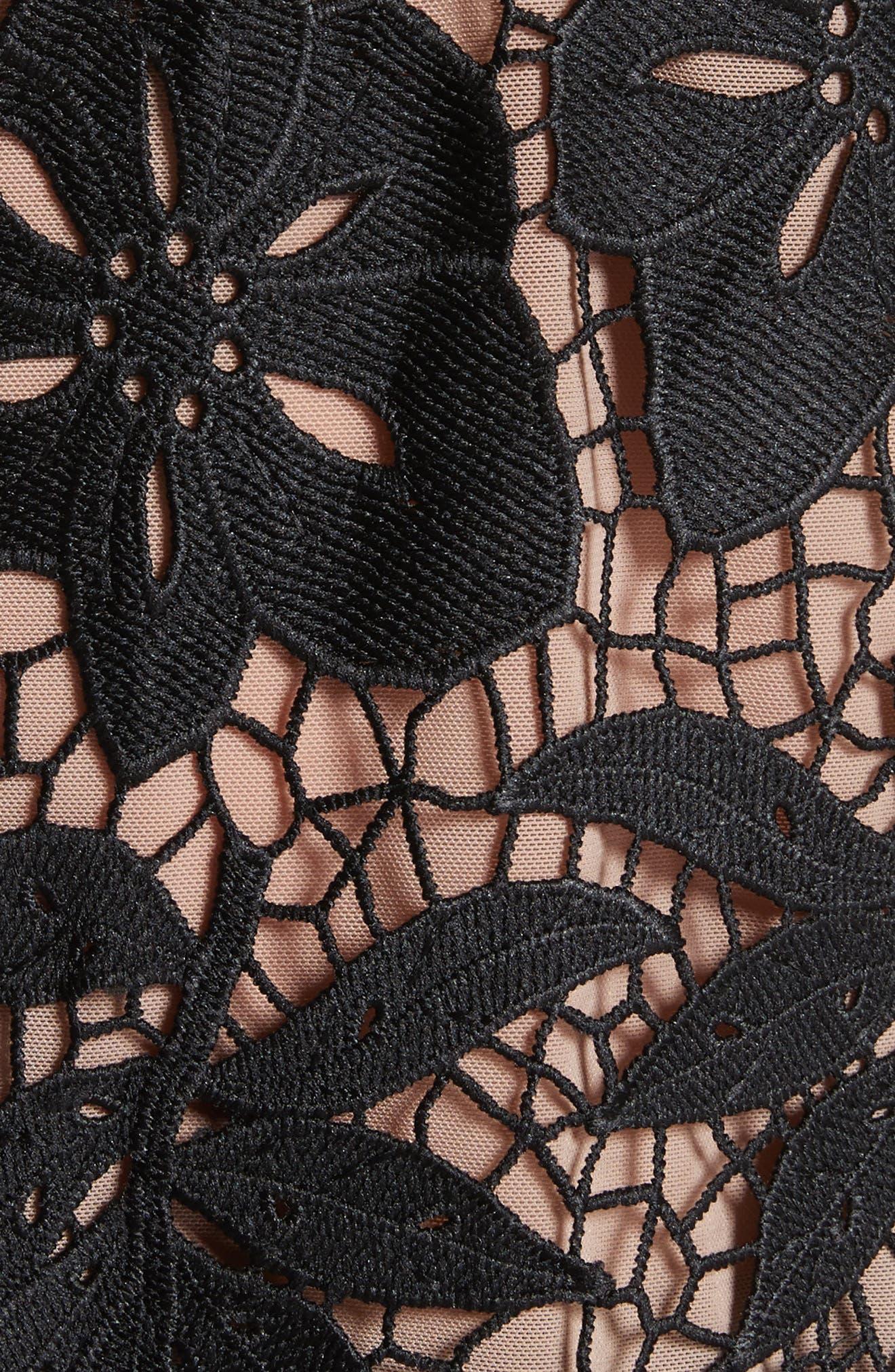 Mixed Media Lace Top,                             Alternate thumbnail 5, color,                             Black