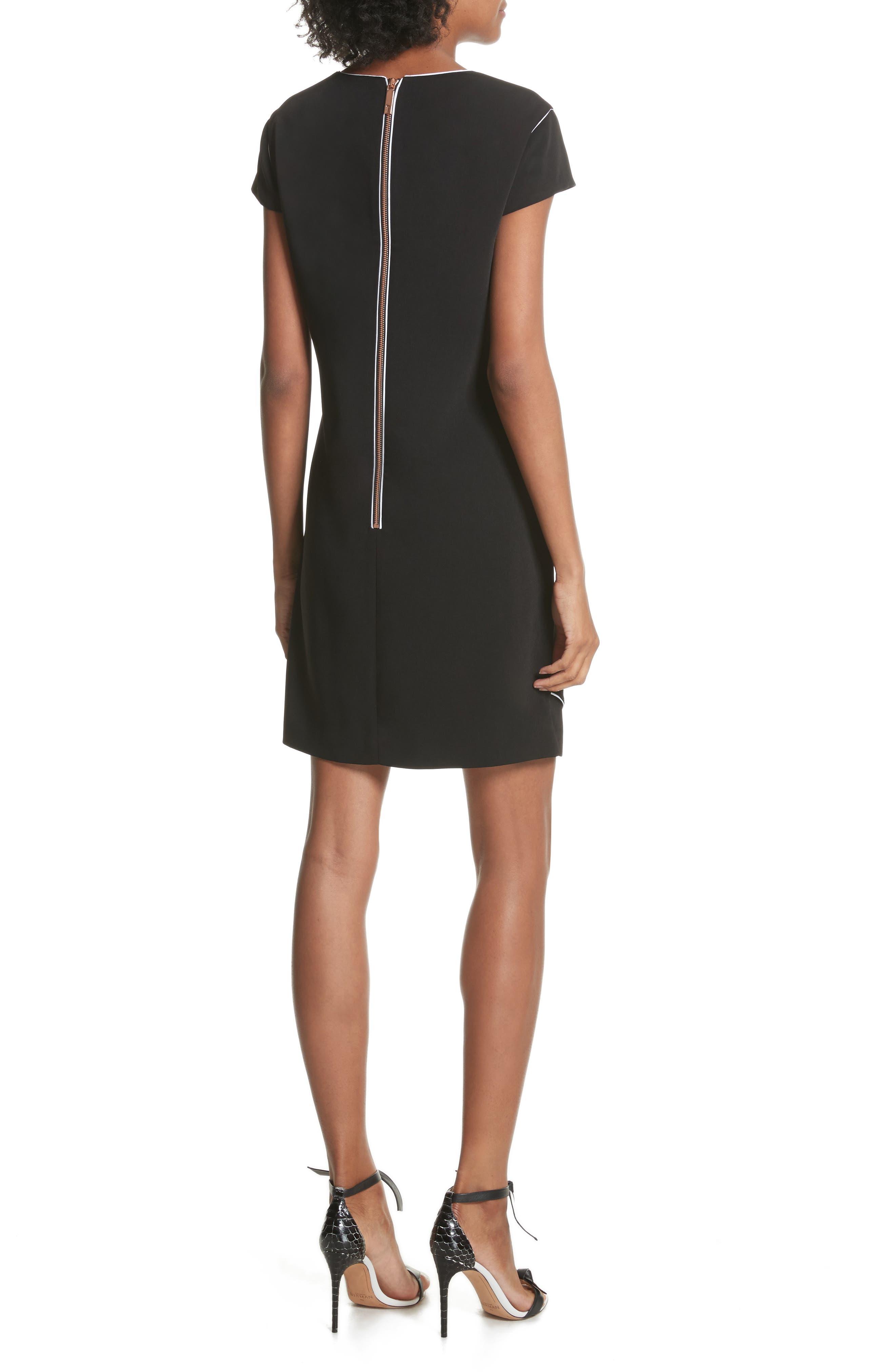 Artiro Asymmetrical Shift Dress,                             Alternate thumbnail 2, color,                             Black