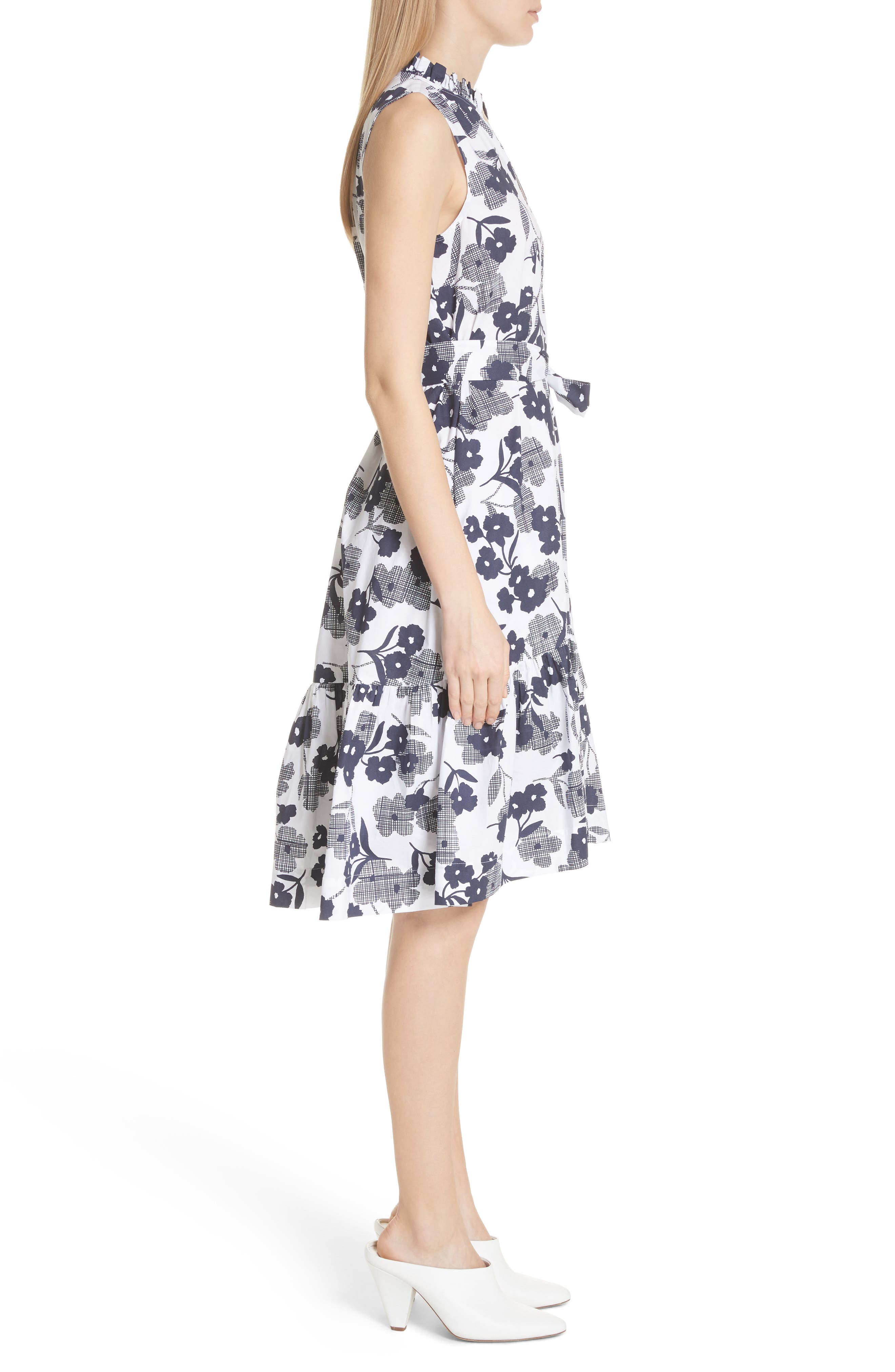 shadows fit & flare poplin dress,                             Alternate thumbnail 3, color,                             Rich Navy