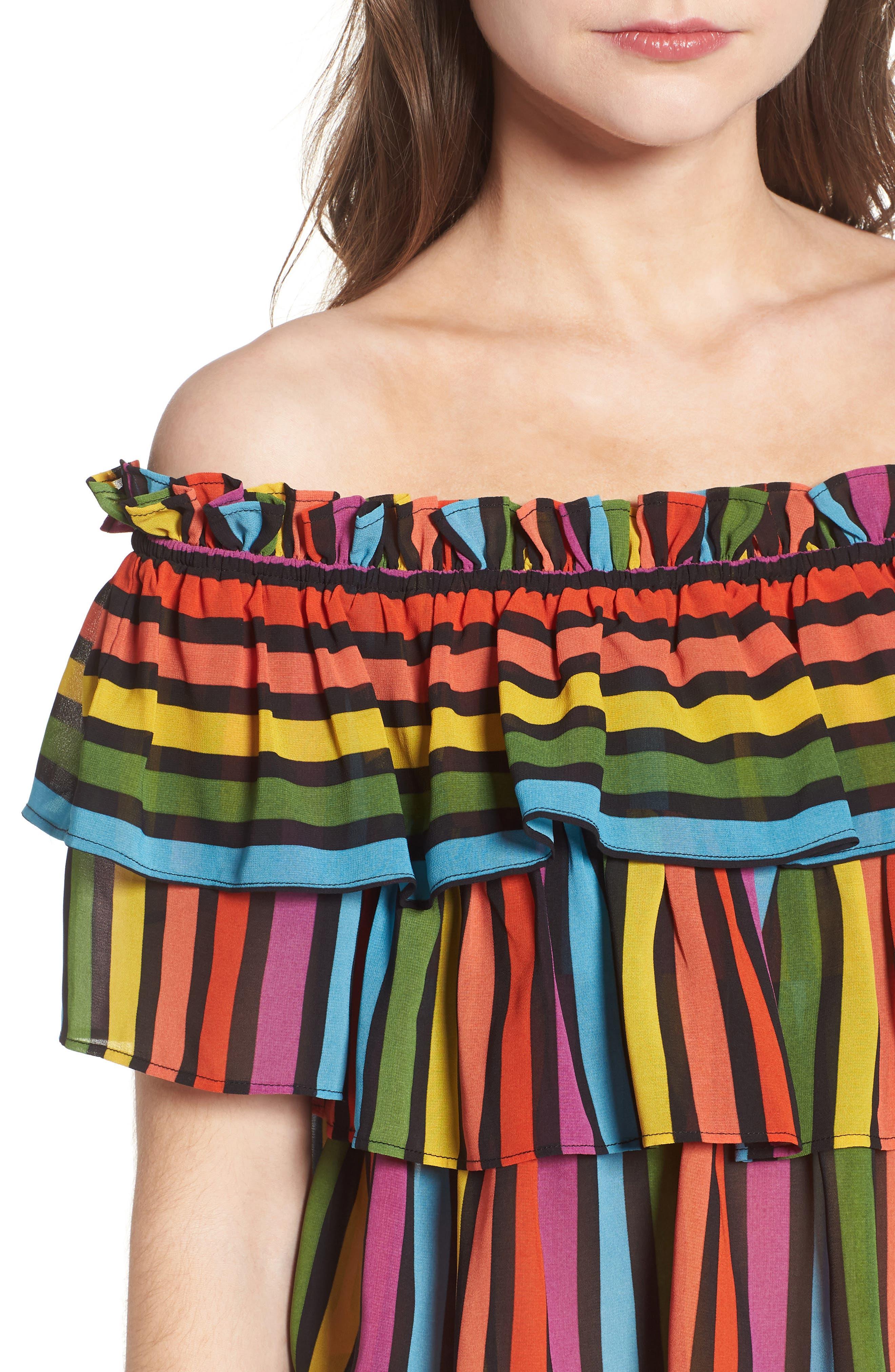 Toulon Tiered Ruffle Top,                             Alternate thumbnail 4, color,                             Rainbow Stripe