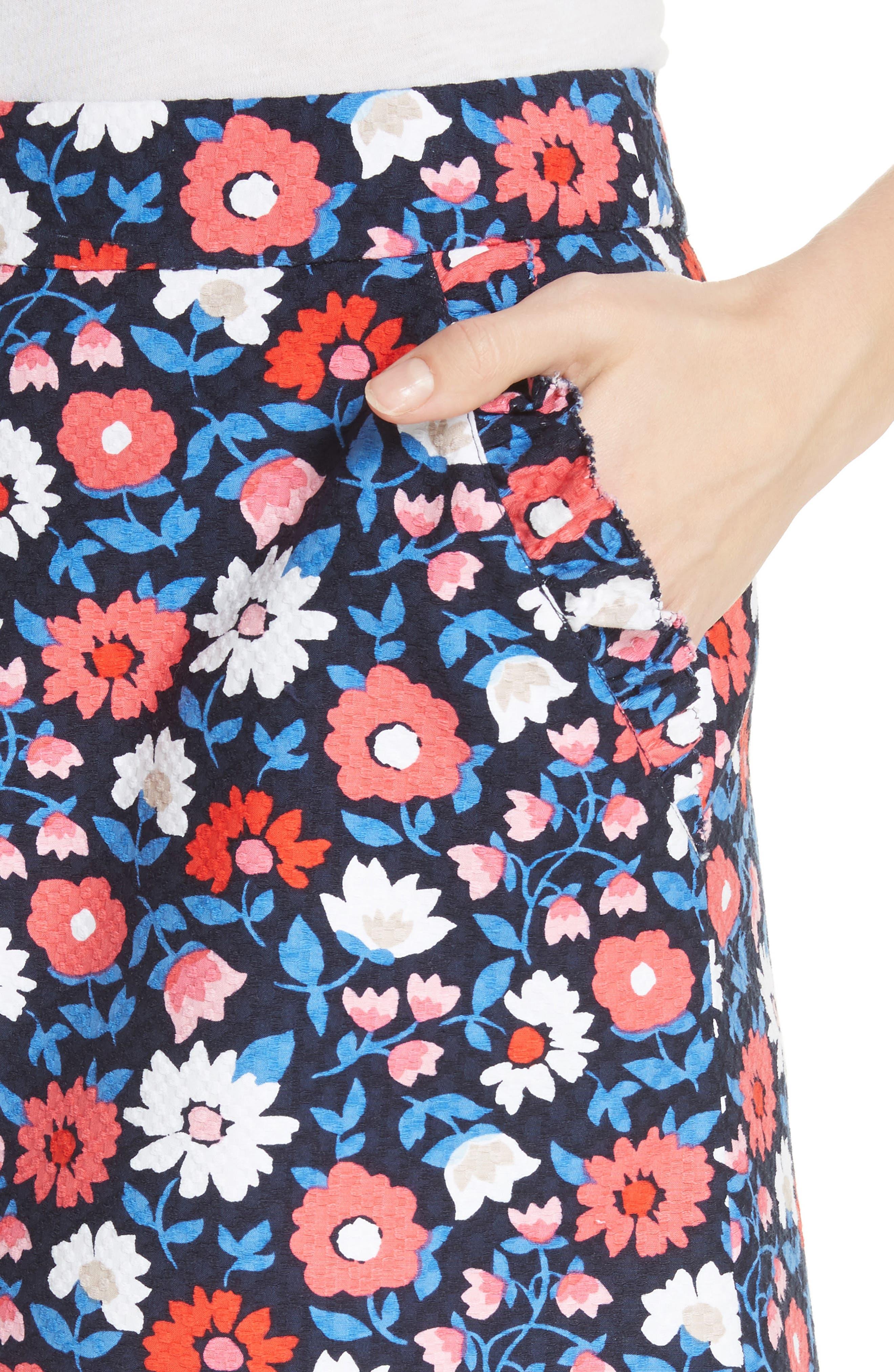 daisy jacquard A-line skirt,                             Alternate thumbnail 4, color,                             Rich Navy