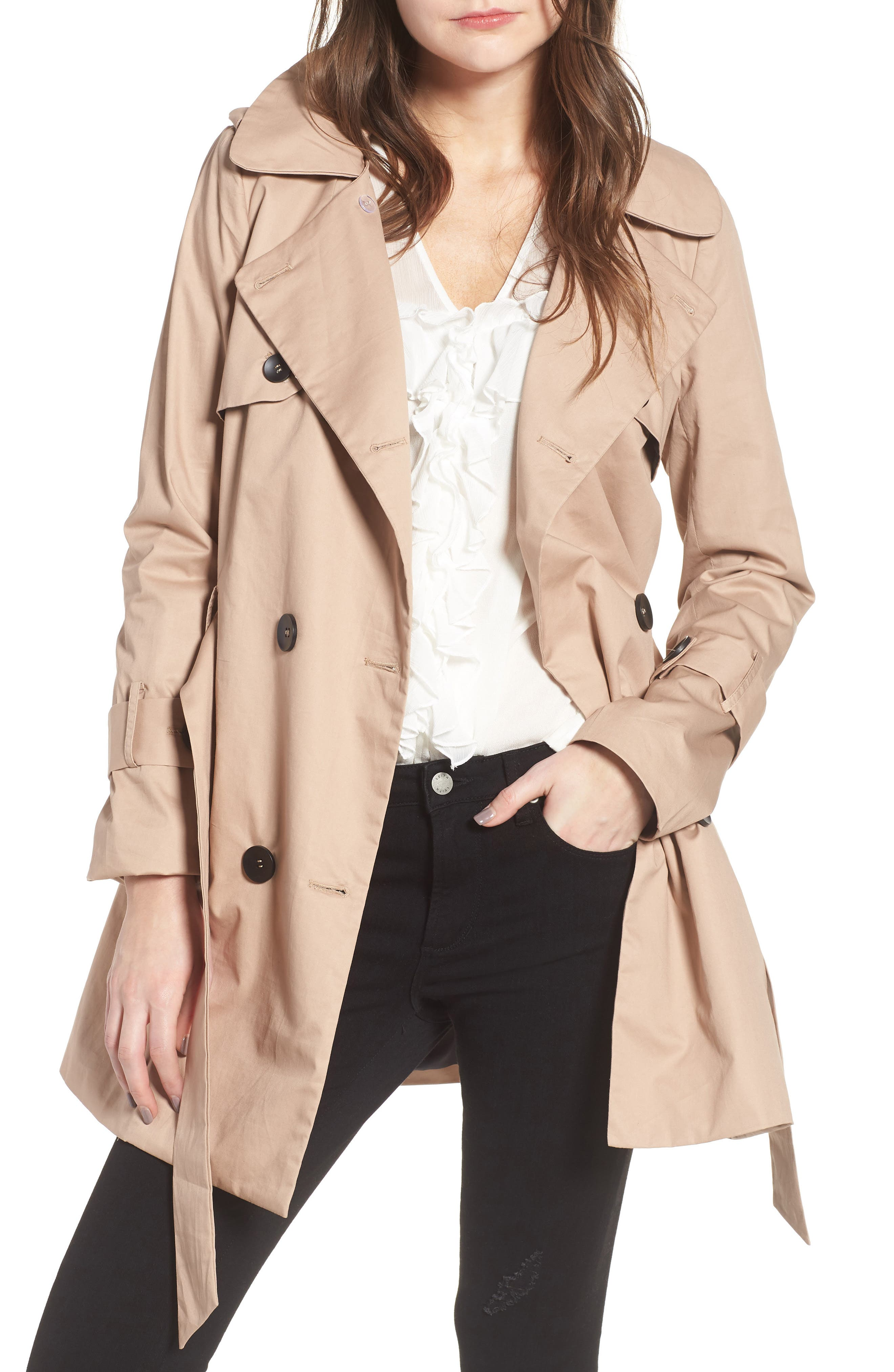 Moss Trench Coat,                             Main thumbnail 1, color,                             Sand