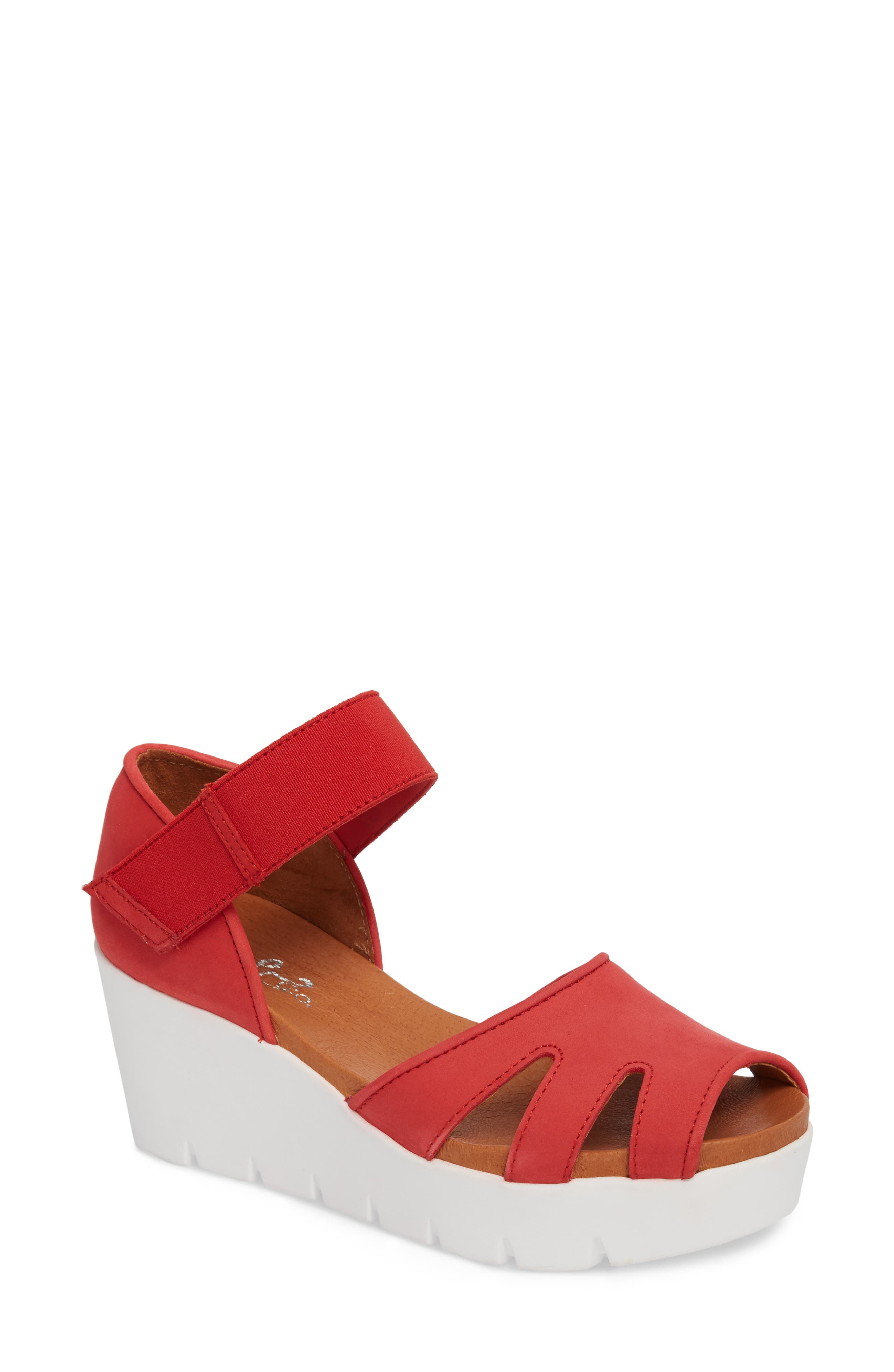 Sharon Platform Wedge Sandal,                         Main,                         color, Red Nubuck Leather