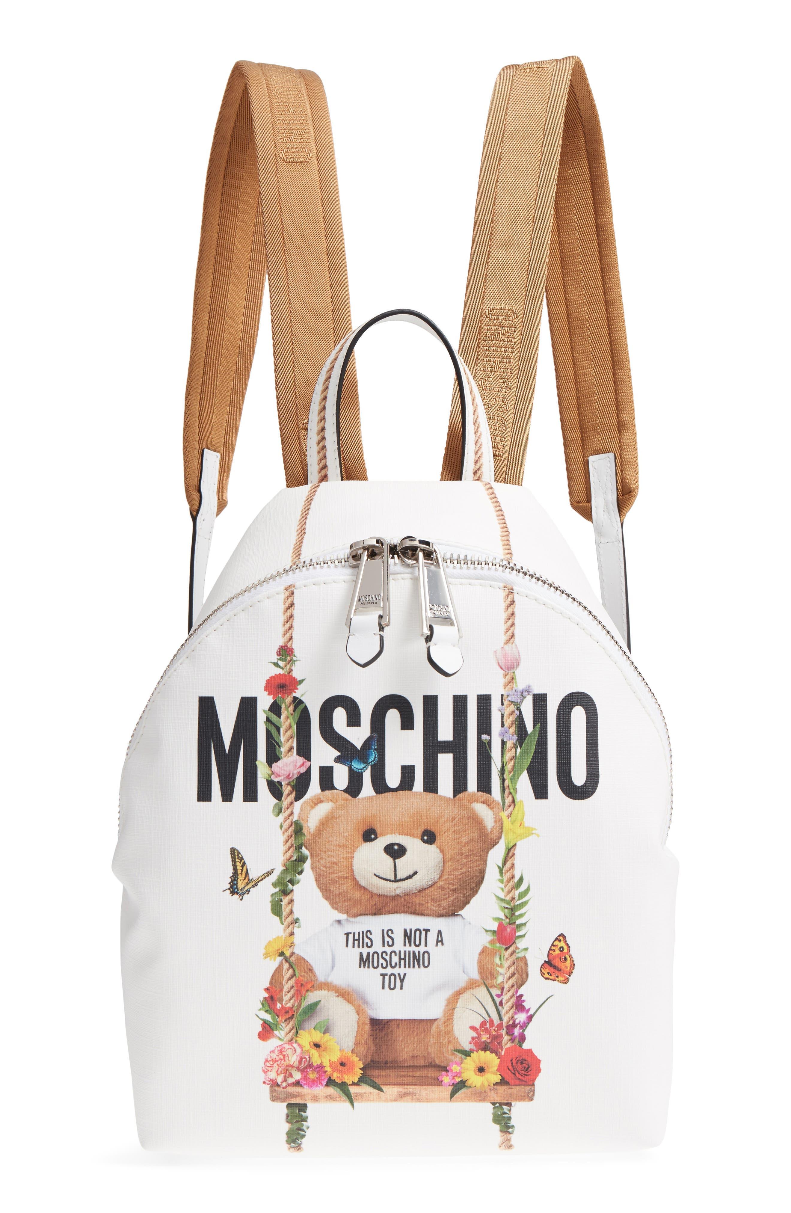 Moschino Teddy Bear Print Coated Canvas Backpack