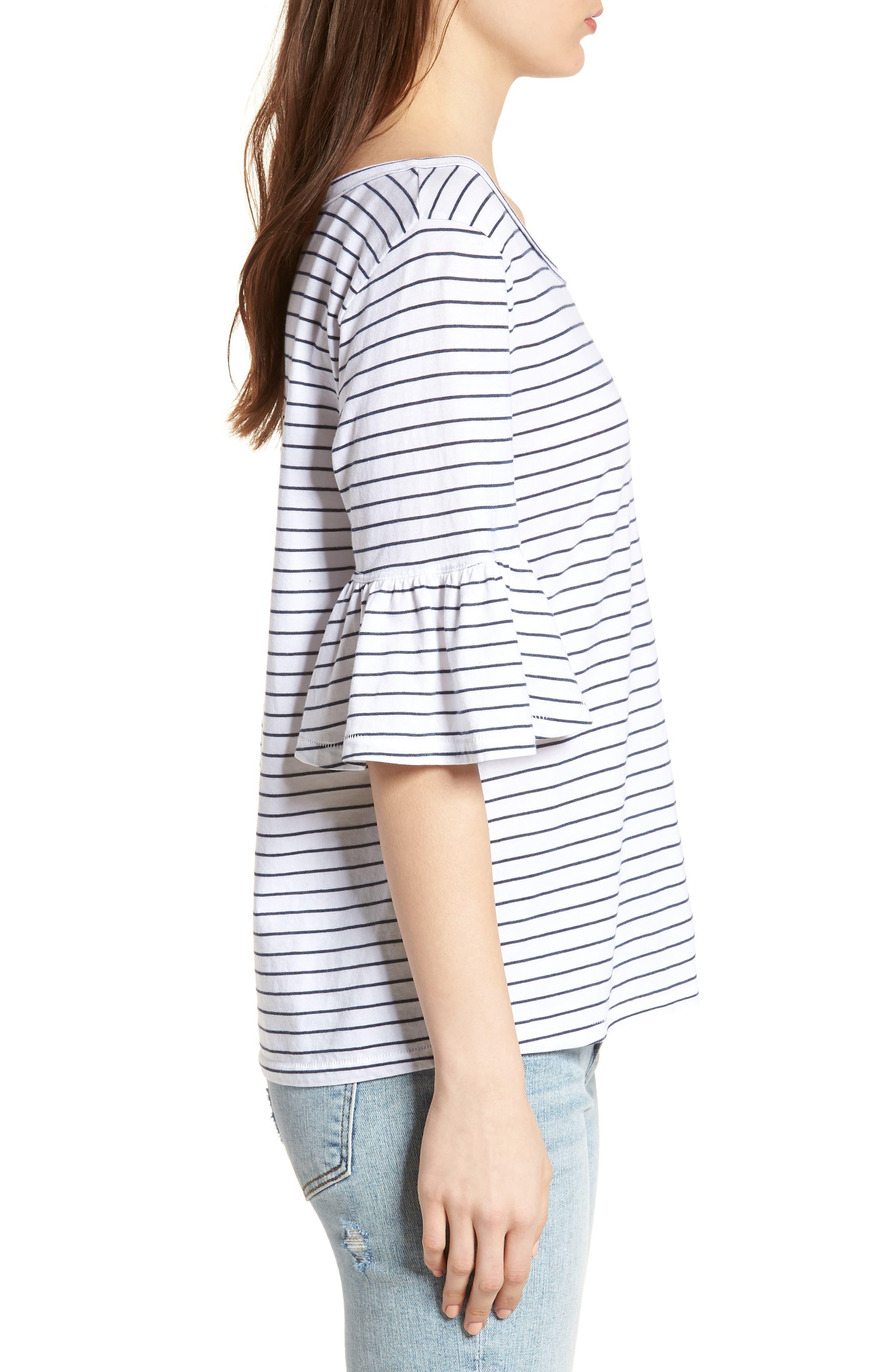 Stripe Ruffle Sleeve Tee,                             Alternate thumbnail 3, color,                             White/ Navy