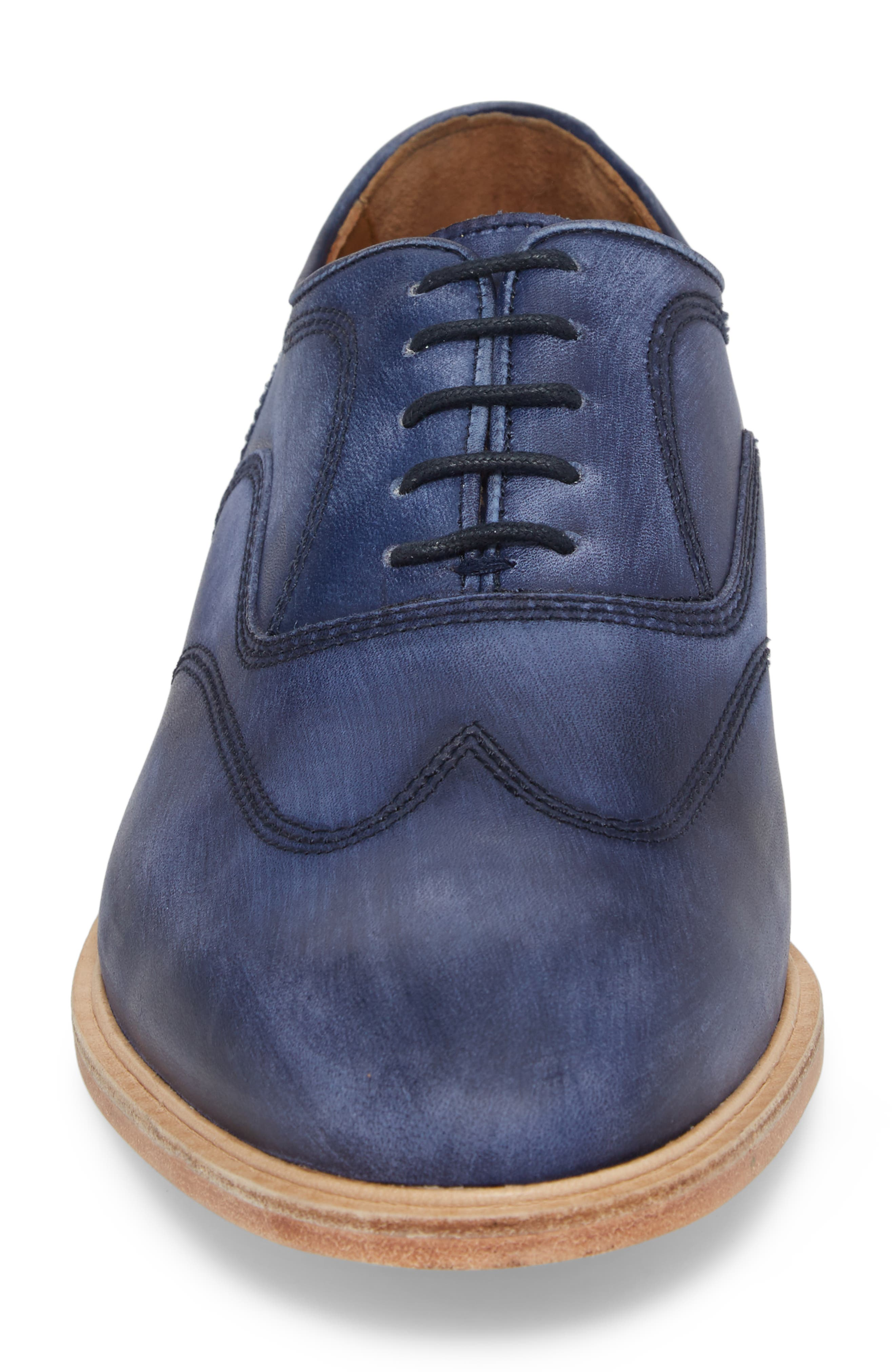 Chambliss Wingtip Oxford,                             Alternate thumbnail 4, color,                             Navy Leather