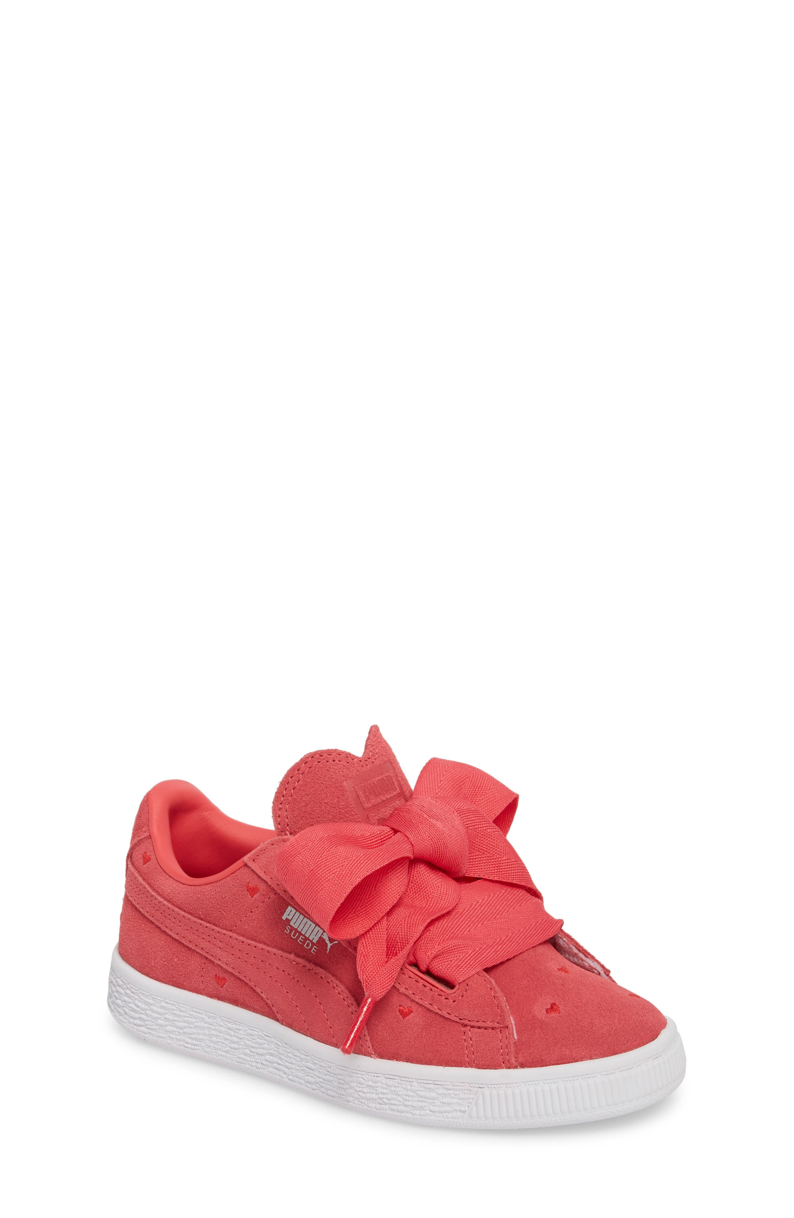Suede Heart Valentine Sneaker,                         Main,                         color, Paradise Pink/ Paradise Pink