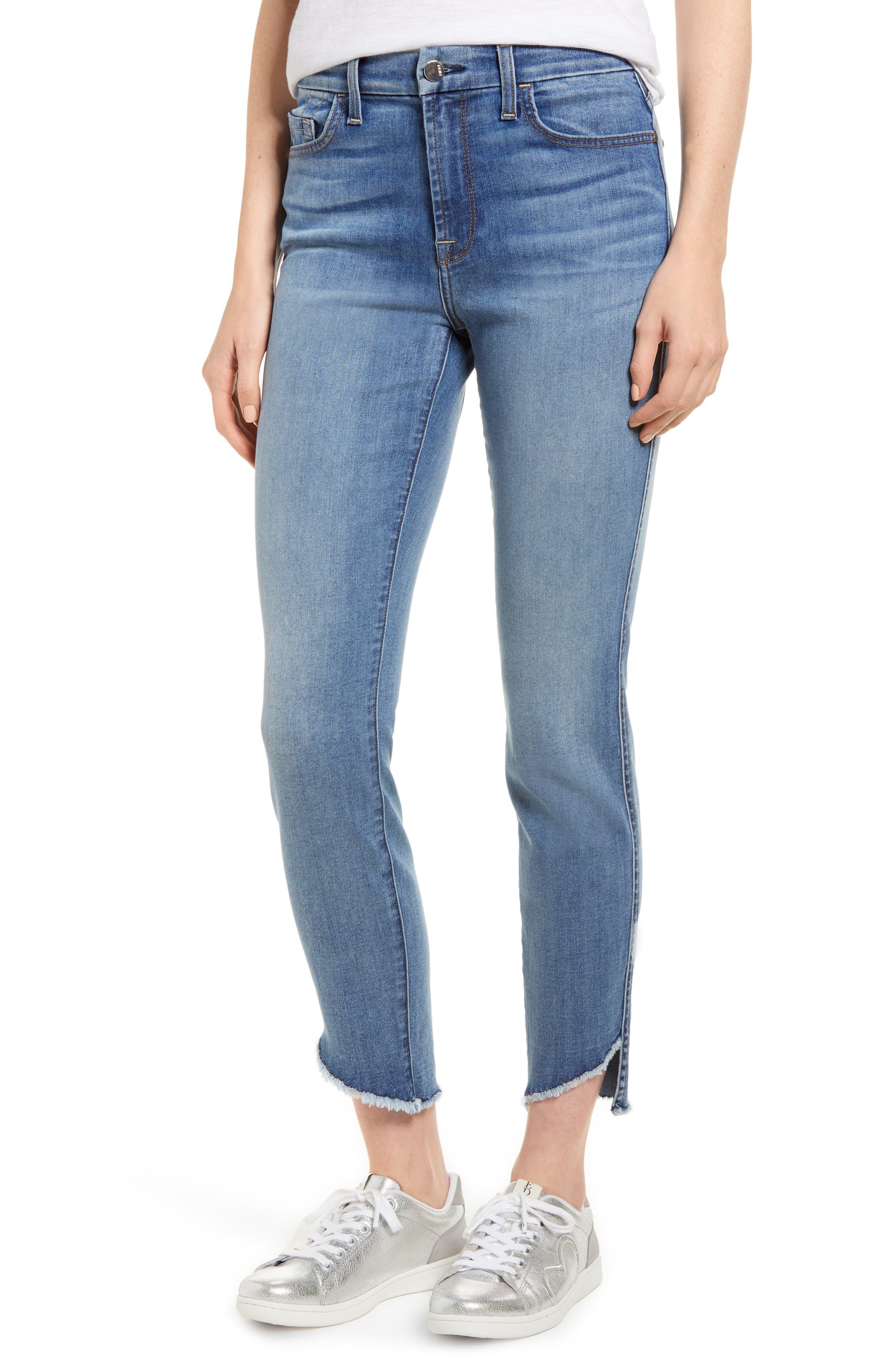 Raw Hem Skinny Jeans,                             Main thumbnail 1, color,                             Sunlight