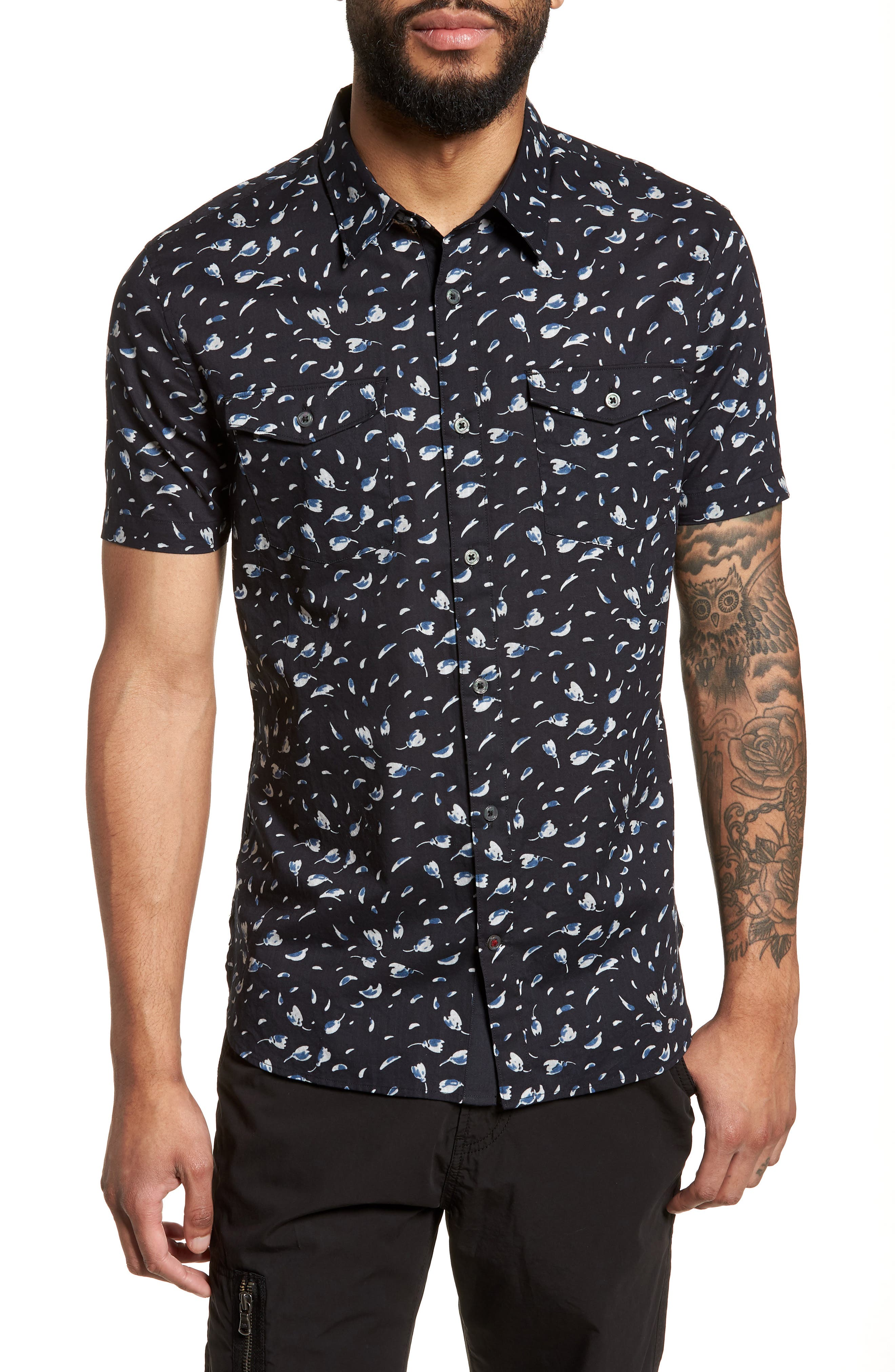 Extra Slim Fit Print Sport Shirt,                         Main,                         color, Mercury Grey