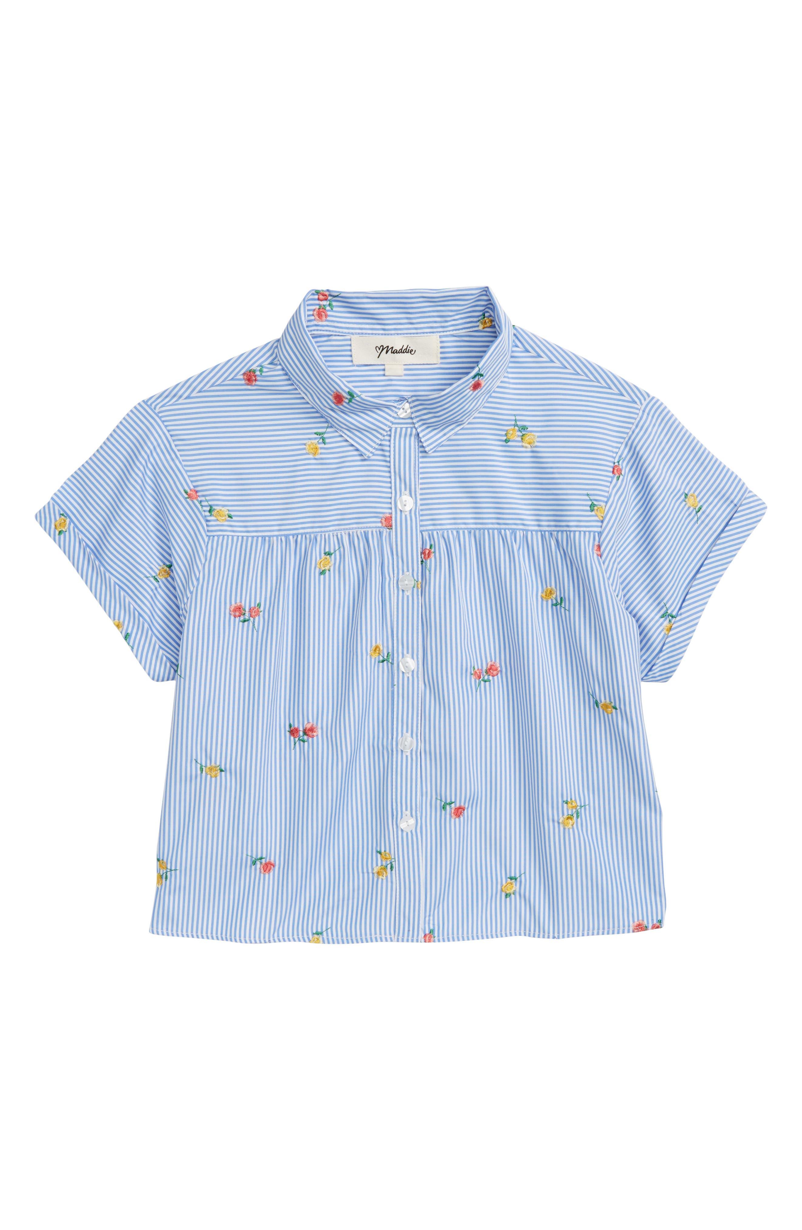 Floral Embroidery Stripe Shirt,                             Main thumbnail 1, color,                             Light Blue/ White