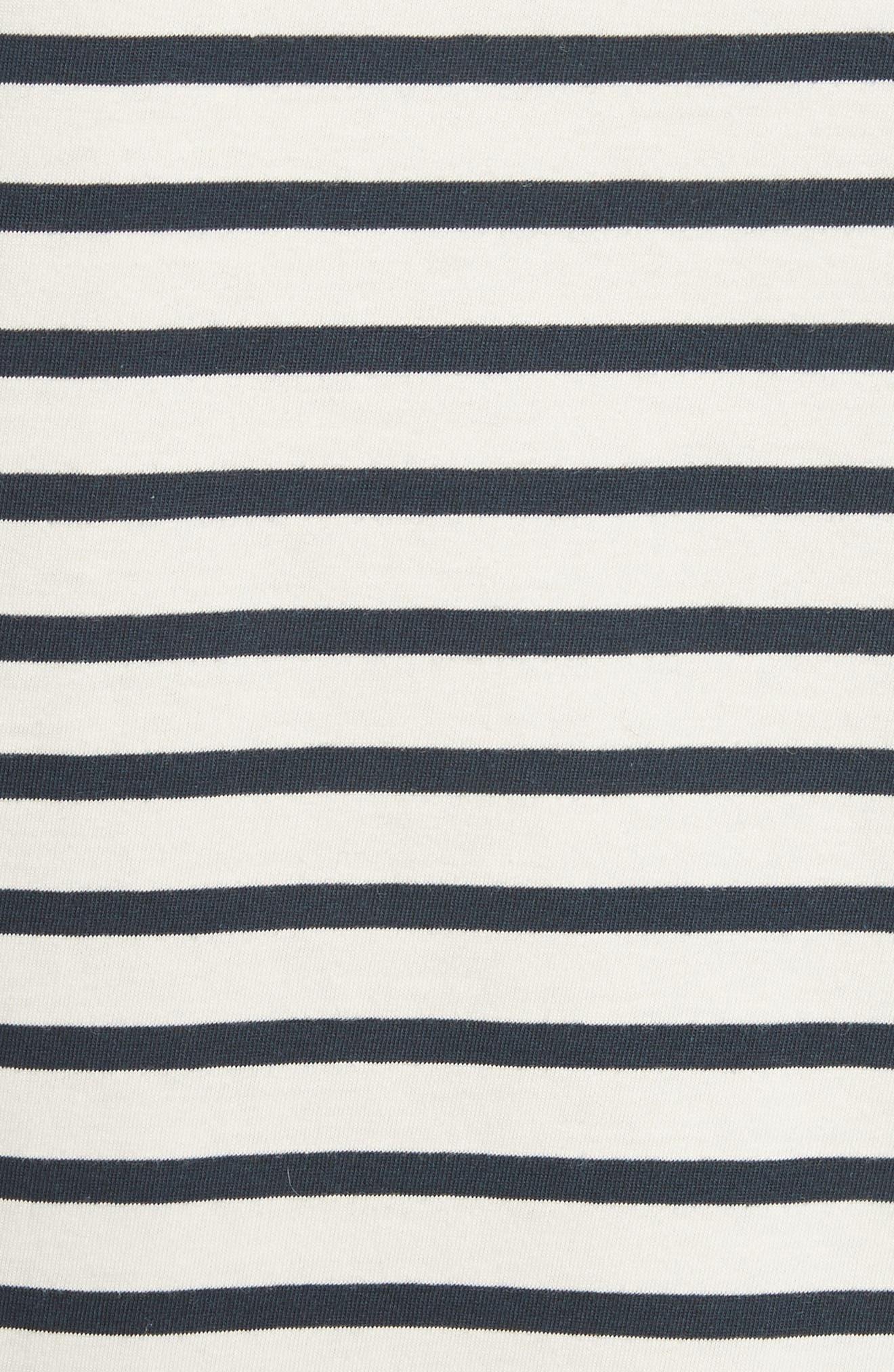 The Tee Stripe Dress,                             Alternate thumbnail 5, color,                             Cream/ Navy