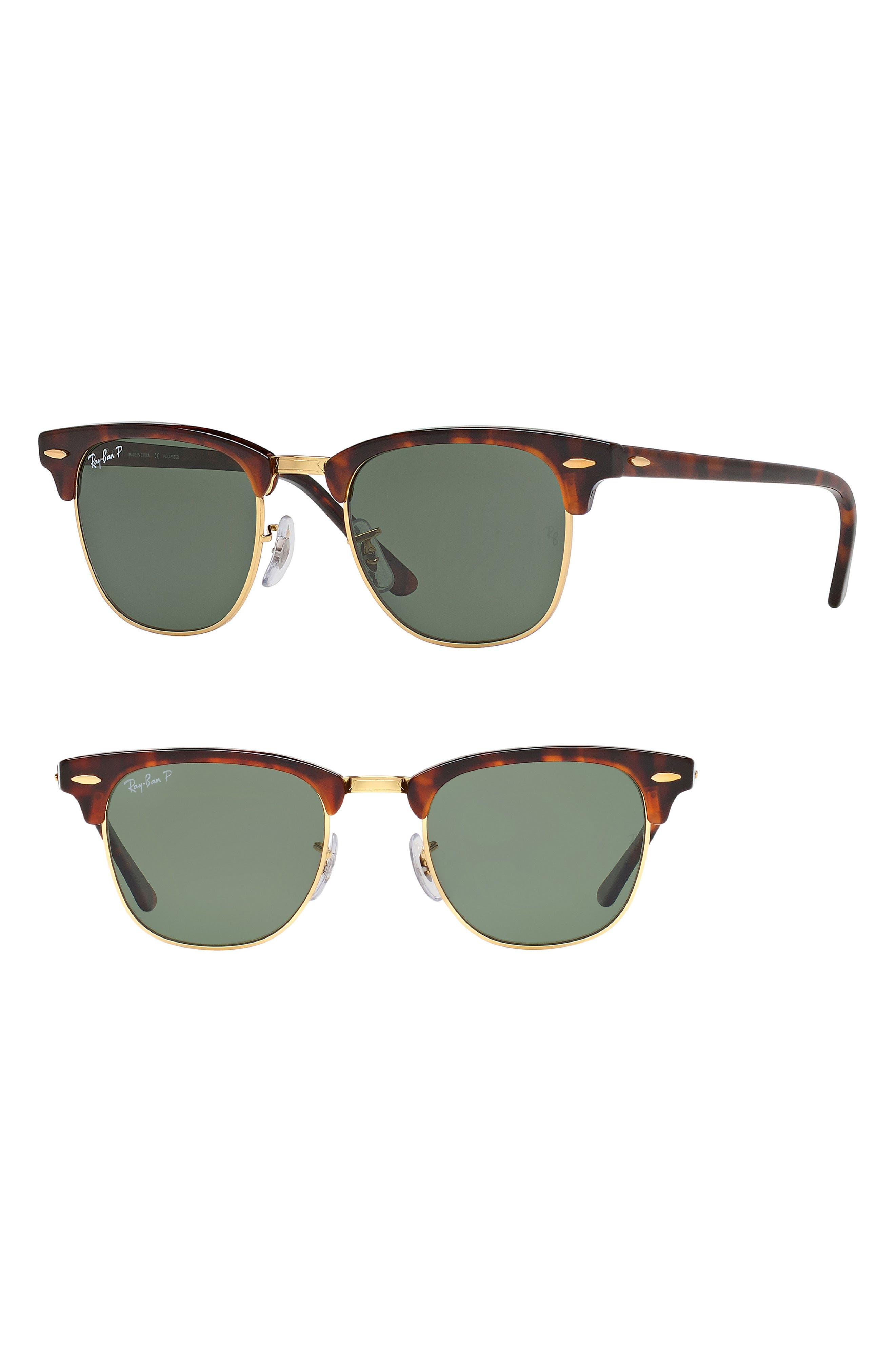 Clubmaster 51mm Polarized Sunglasses,                         Main,                         color, Red Havana