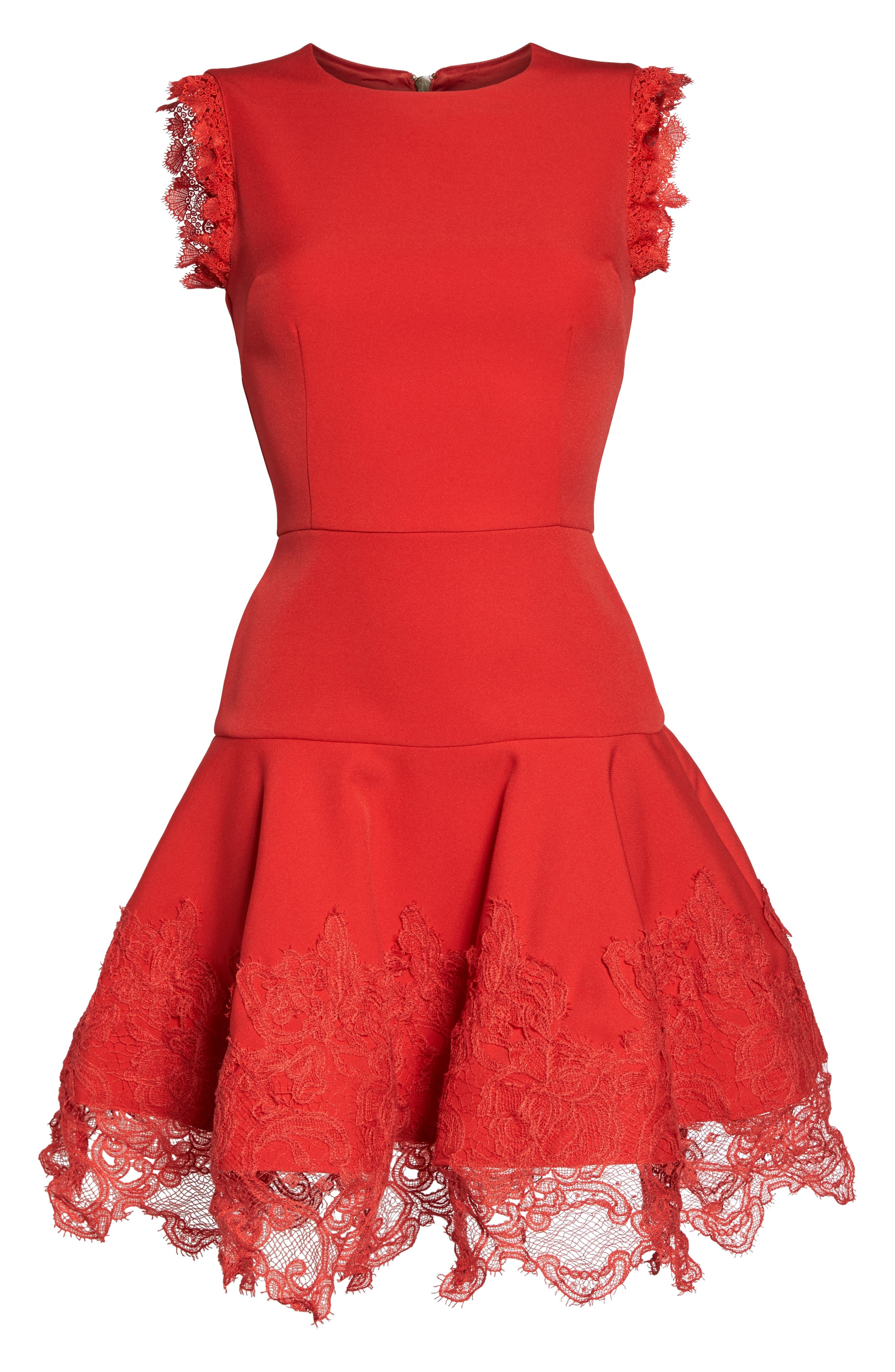 Antonia Fit & Flare Dress,                             Alternate thumbnail 6, color,                             Red