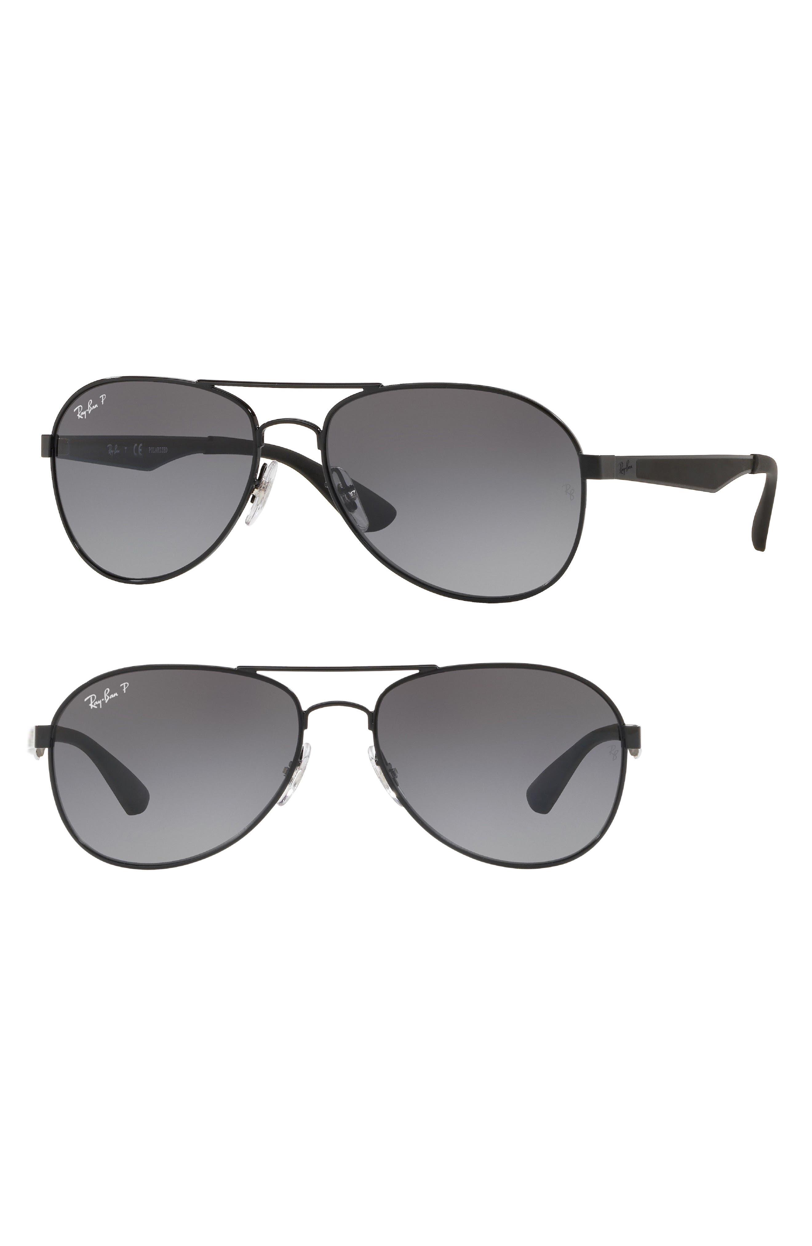 Active Lifestyle 61mm Polarized Pilot Sunglasses,                             Main thumbnail 1, color,                             Black