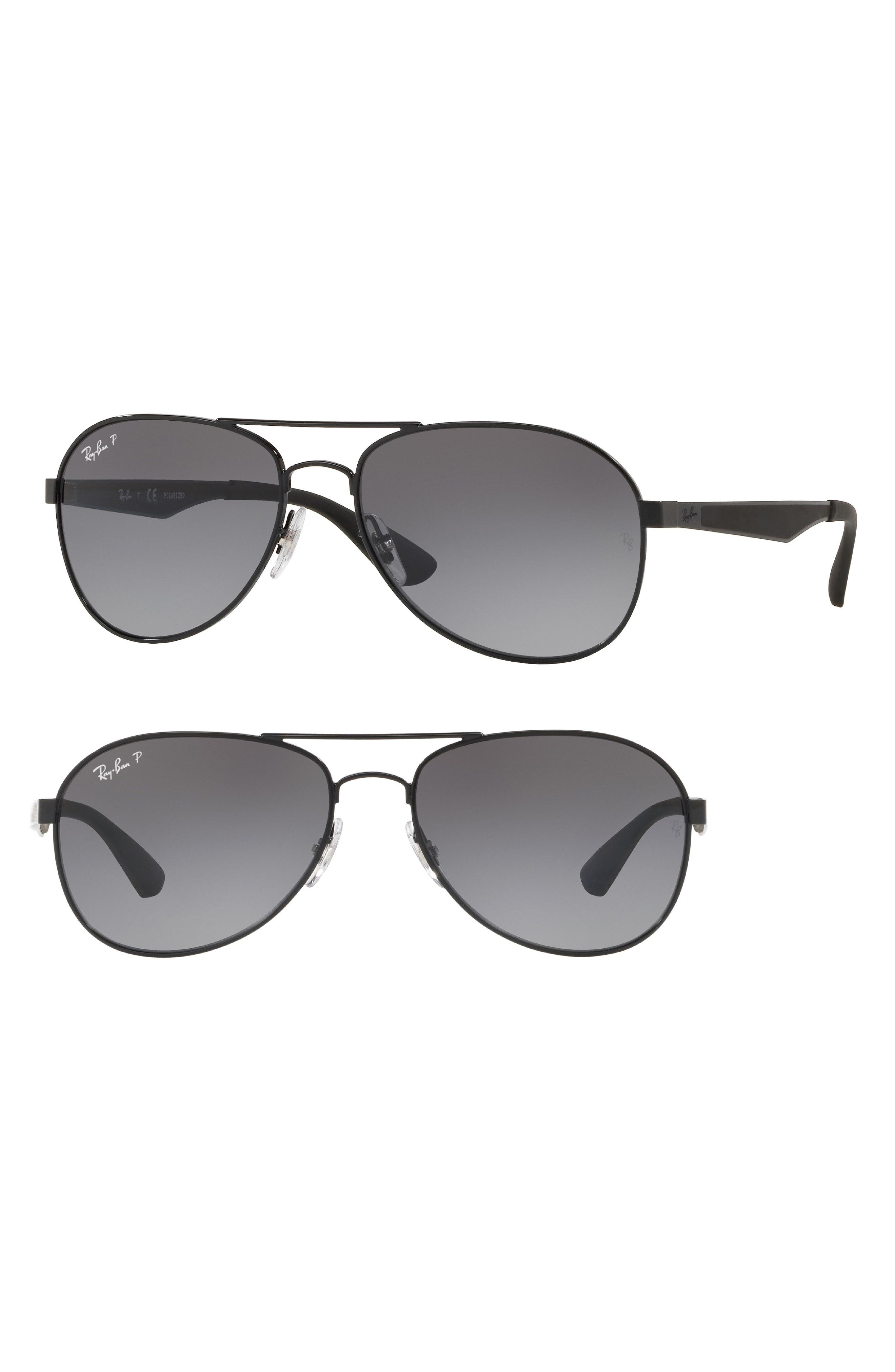 Active Lifestyle 61mm Polarized Pilot Sunglasses,                         Main,                         color, Black