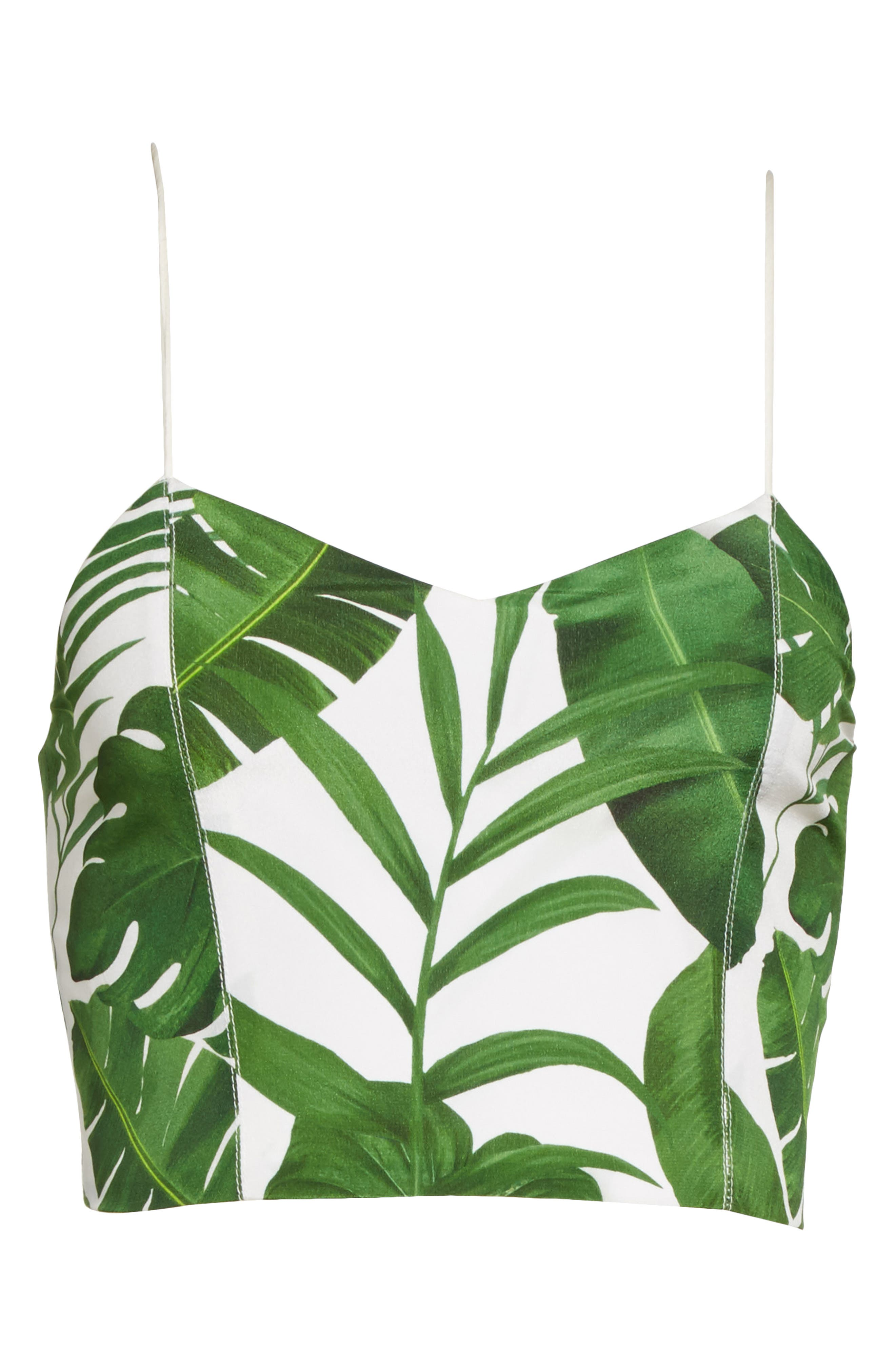Archer Crop Silk Camisole,                             Alternate thumbnail 6, color,                             Tropical Leaves