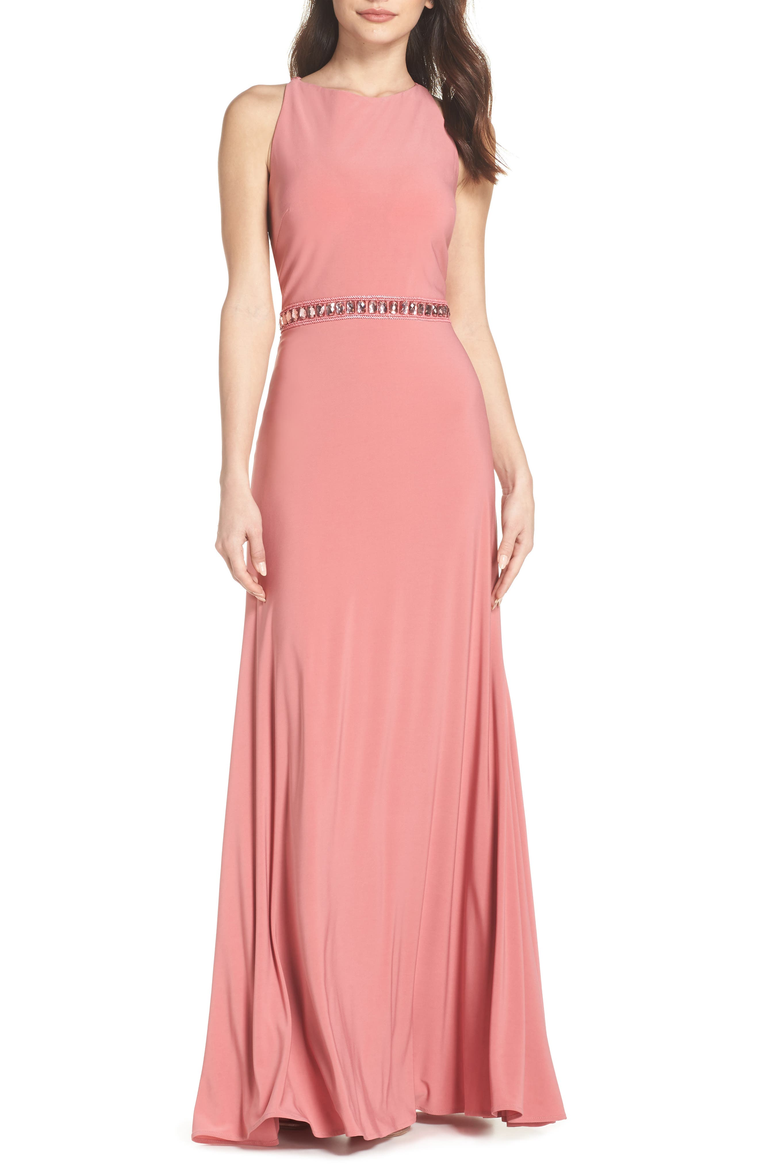 Sparkle Waist Gown,                         Main,                         color, Rose Pink