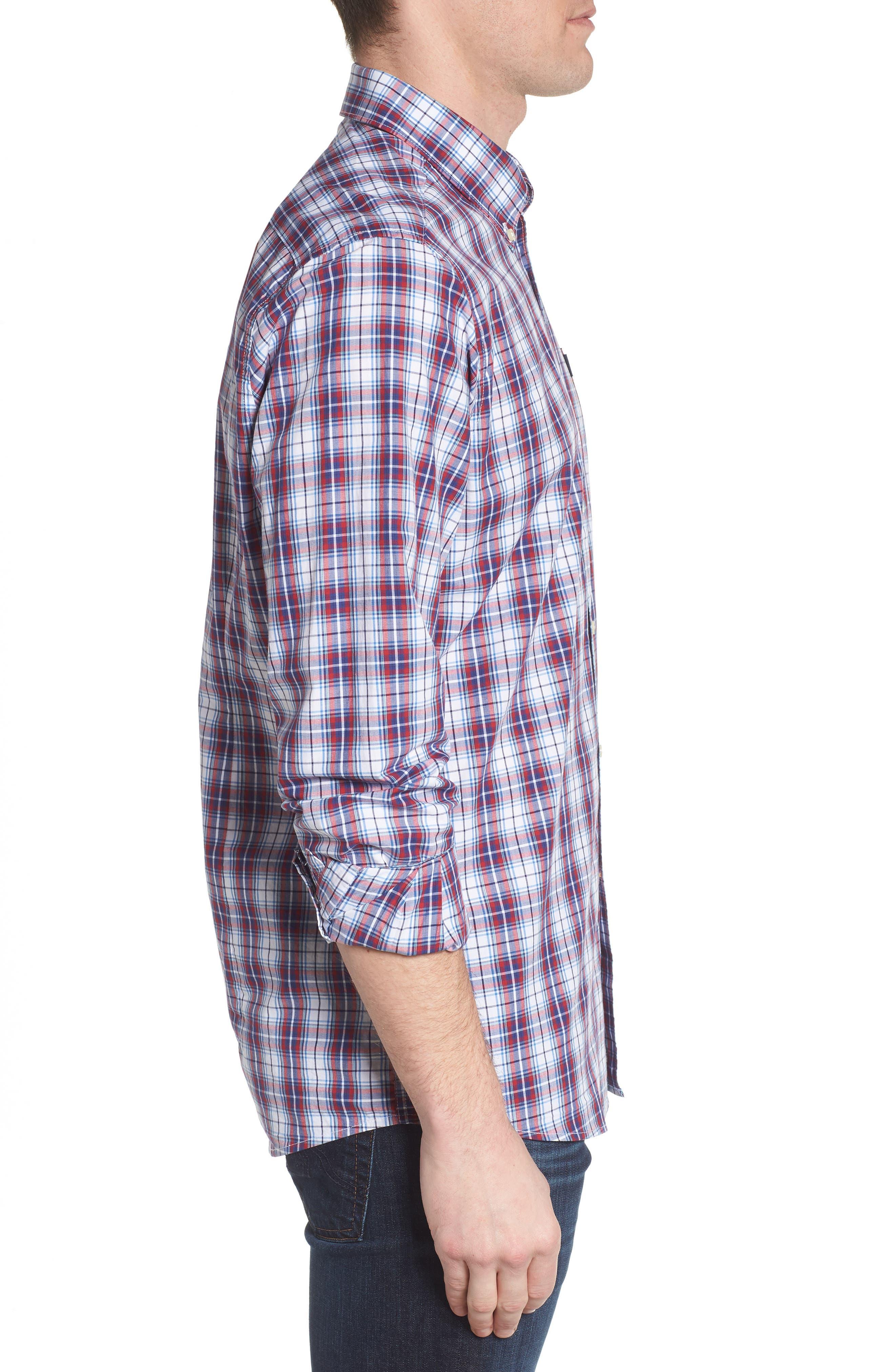 Leo Trim Fit Plaid Sport Shirt,                             Alternate thumbnail 3, color,                             Red