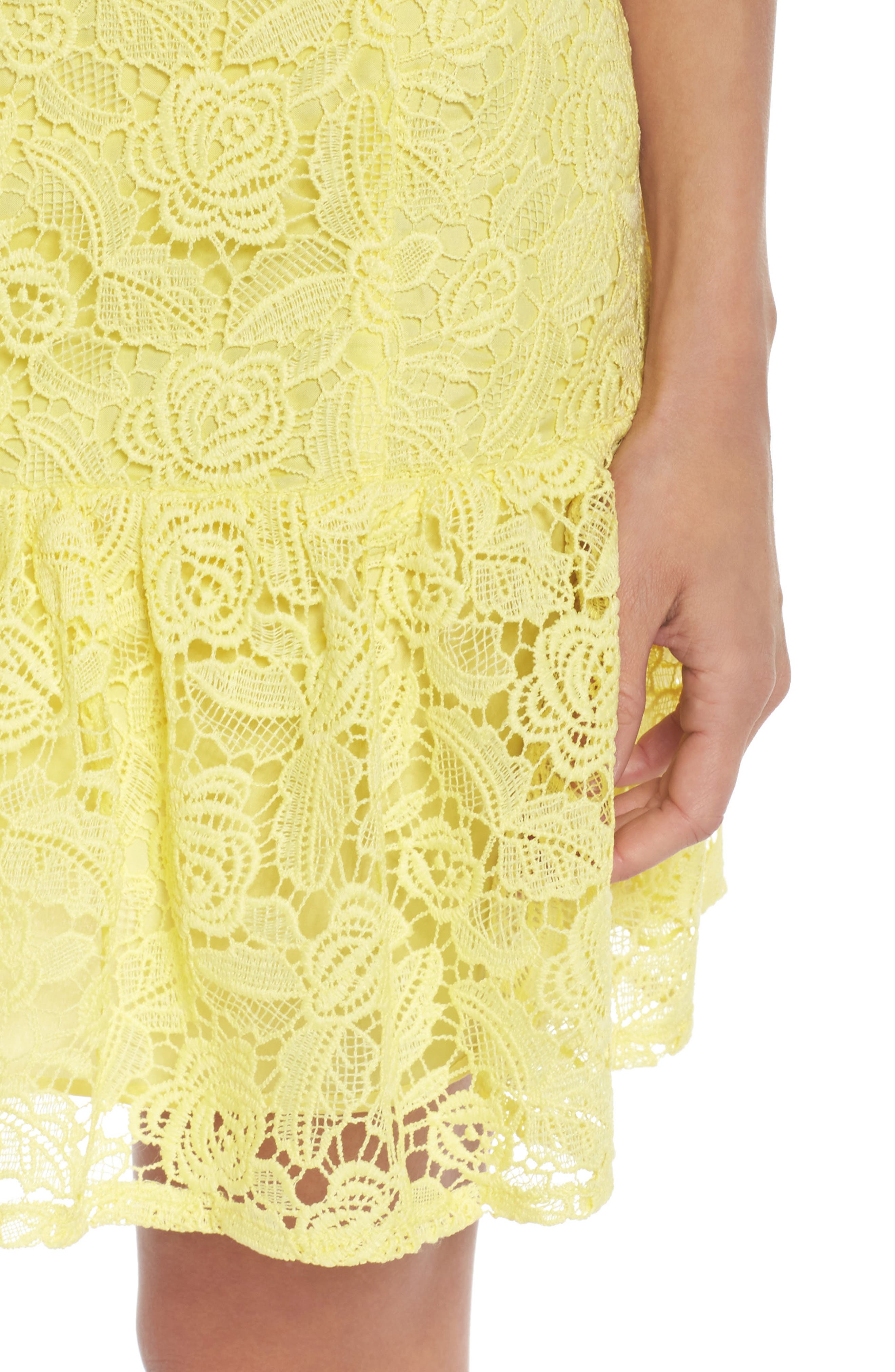 Alternate Image 4  - BB Dakota Gisel Ruffle Hem Lace Dress