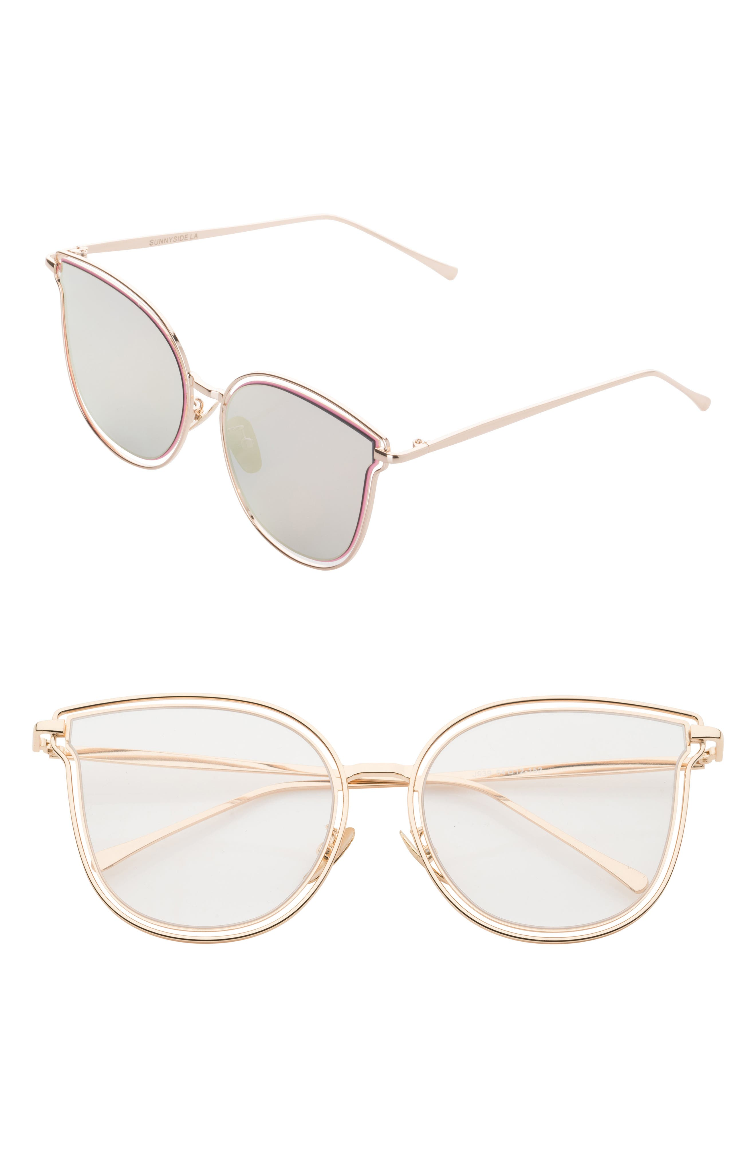 54mm Cat Eye Clear Glasses,                             Main thumbnail 1, color,                             Gold