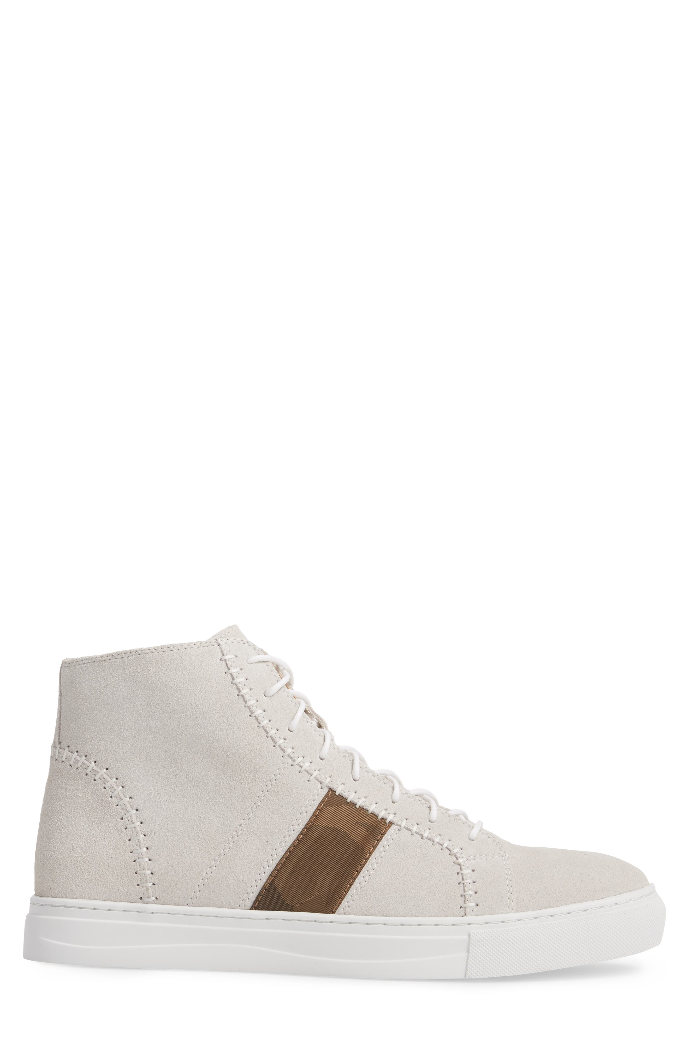 High Top Sneaker,                             Alternate thumbnail 3, color,                             White Suede