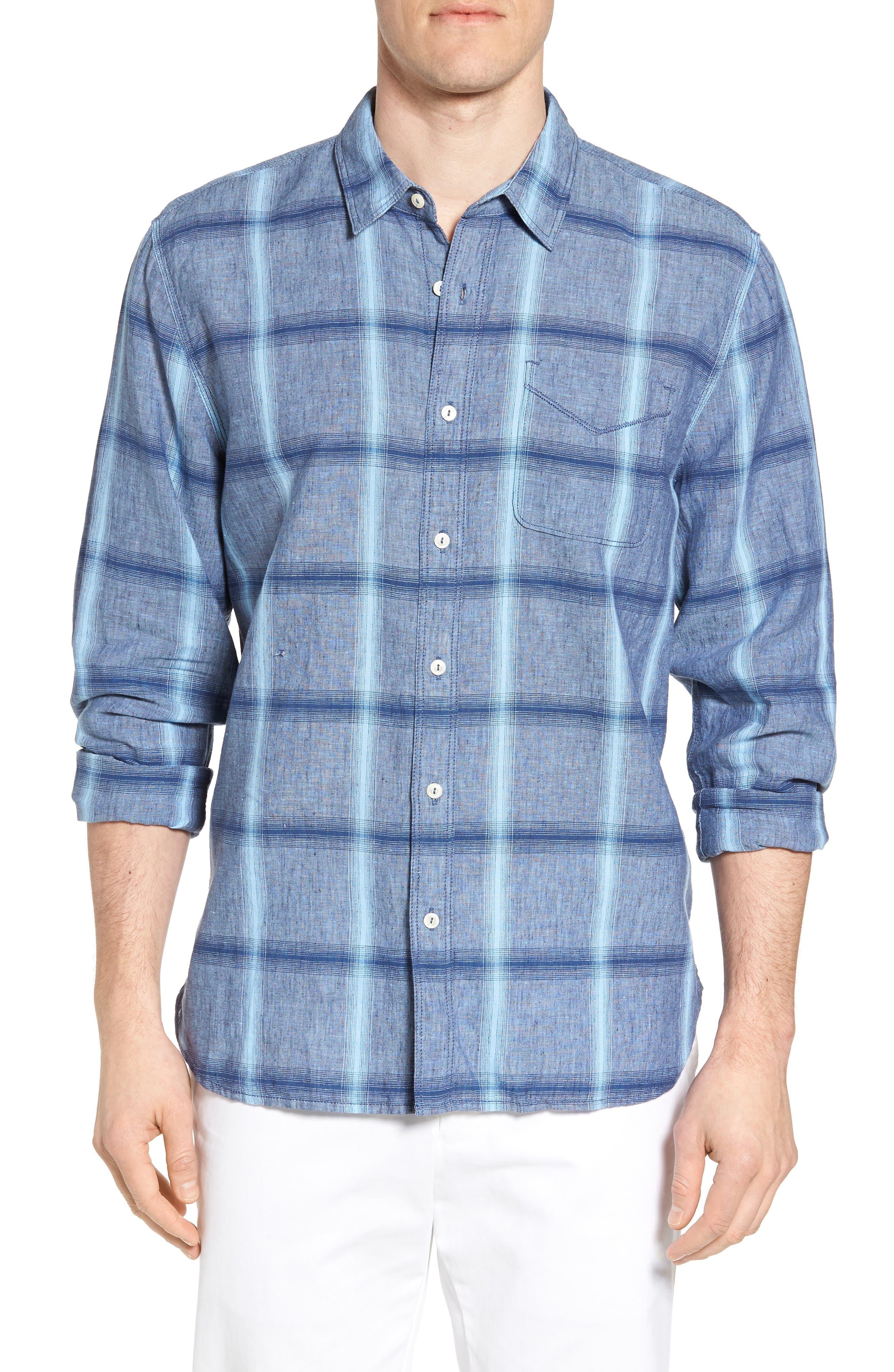 Alternate Image 1 Selected - True Grit Rincon Plaid Linen Blend Chambray Sport Shirt