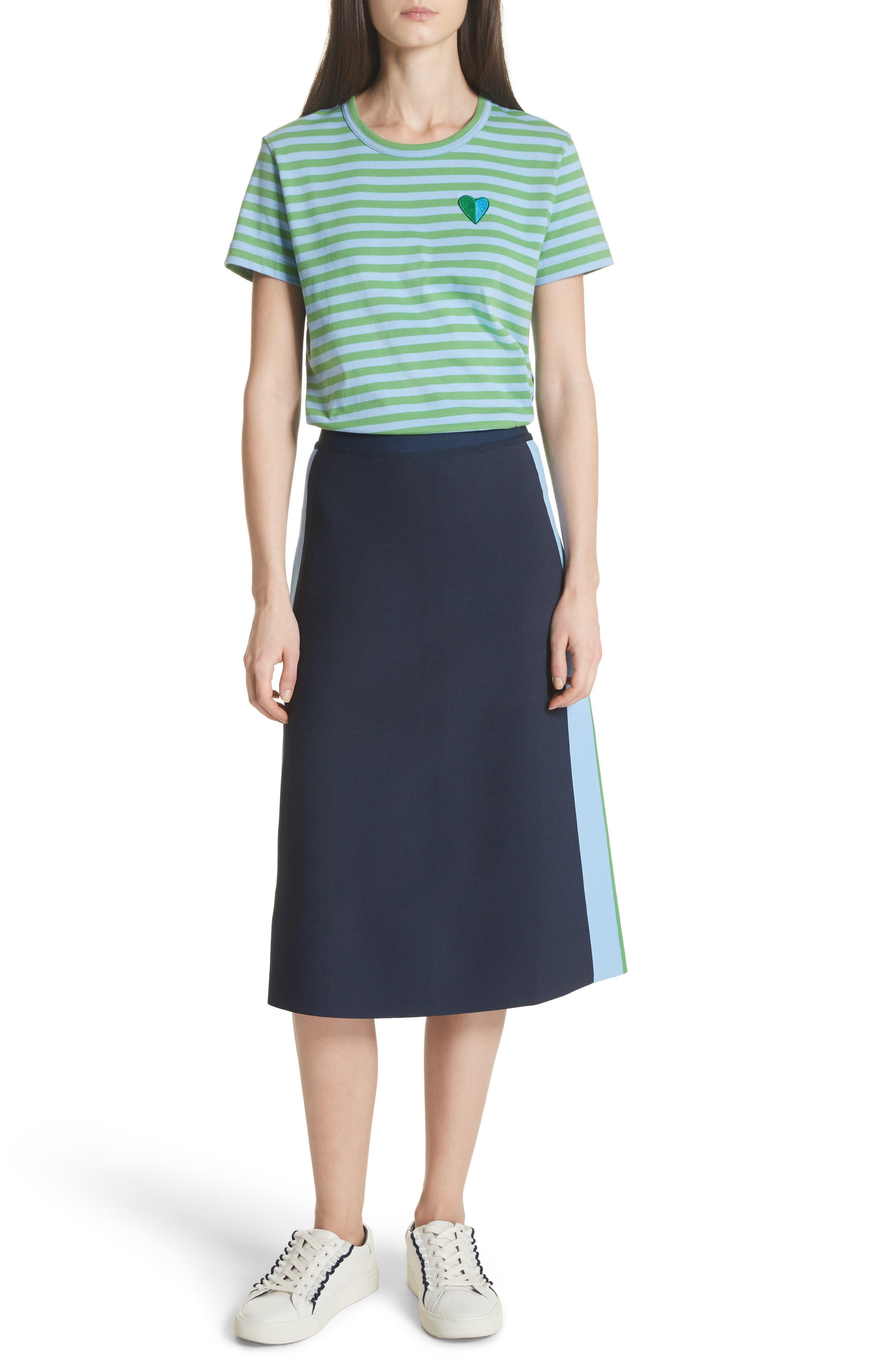Tech Knit Colorblock Skirt,                             Alternate thumbnail 7, color,                             Tory Navy