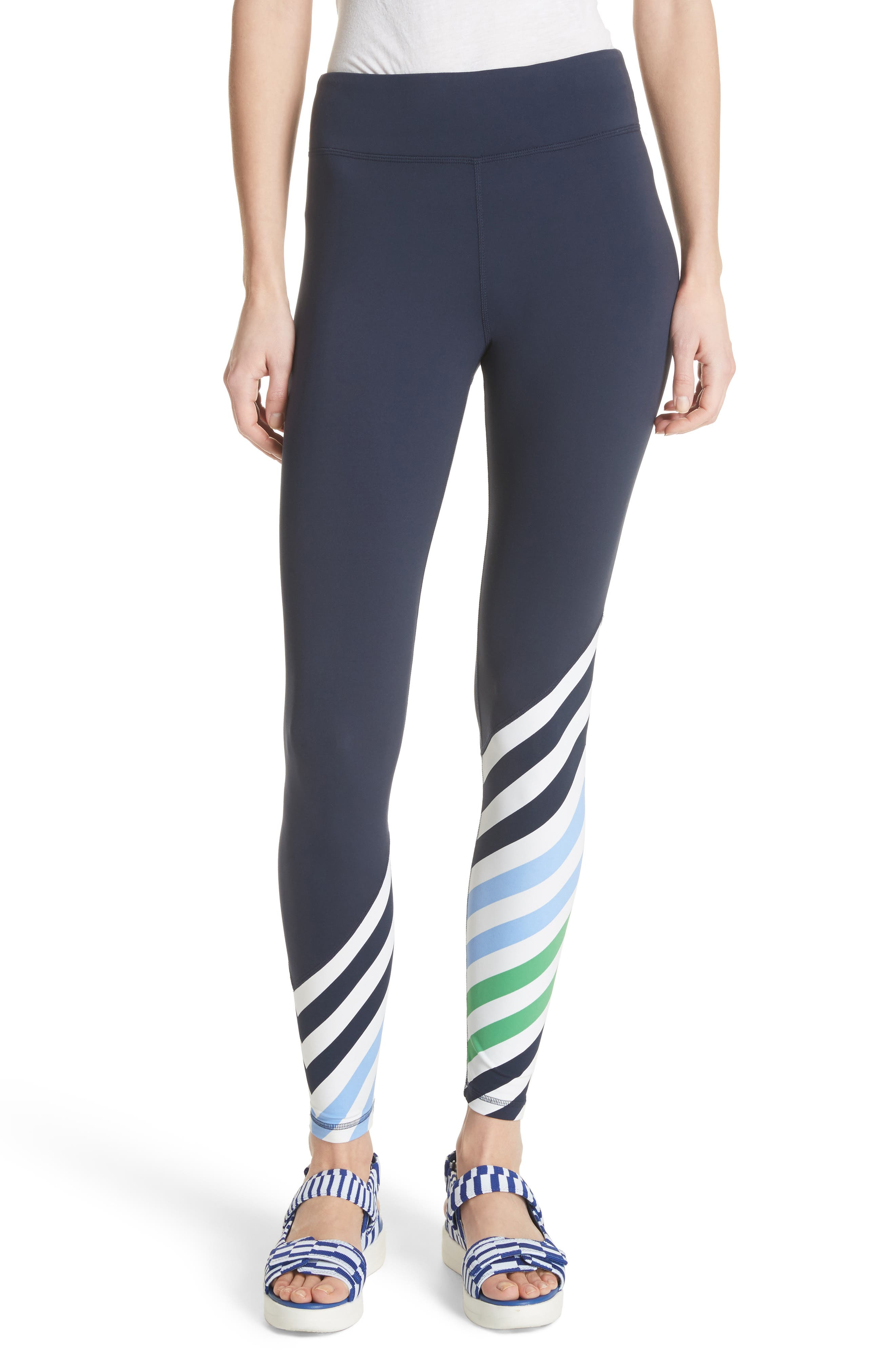 Diagonal Stripe Leggings,                             Main thumbnail 1, color,                             Tory Navy