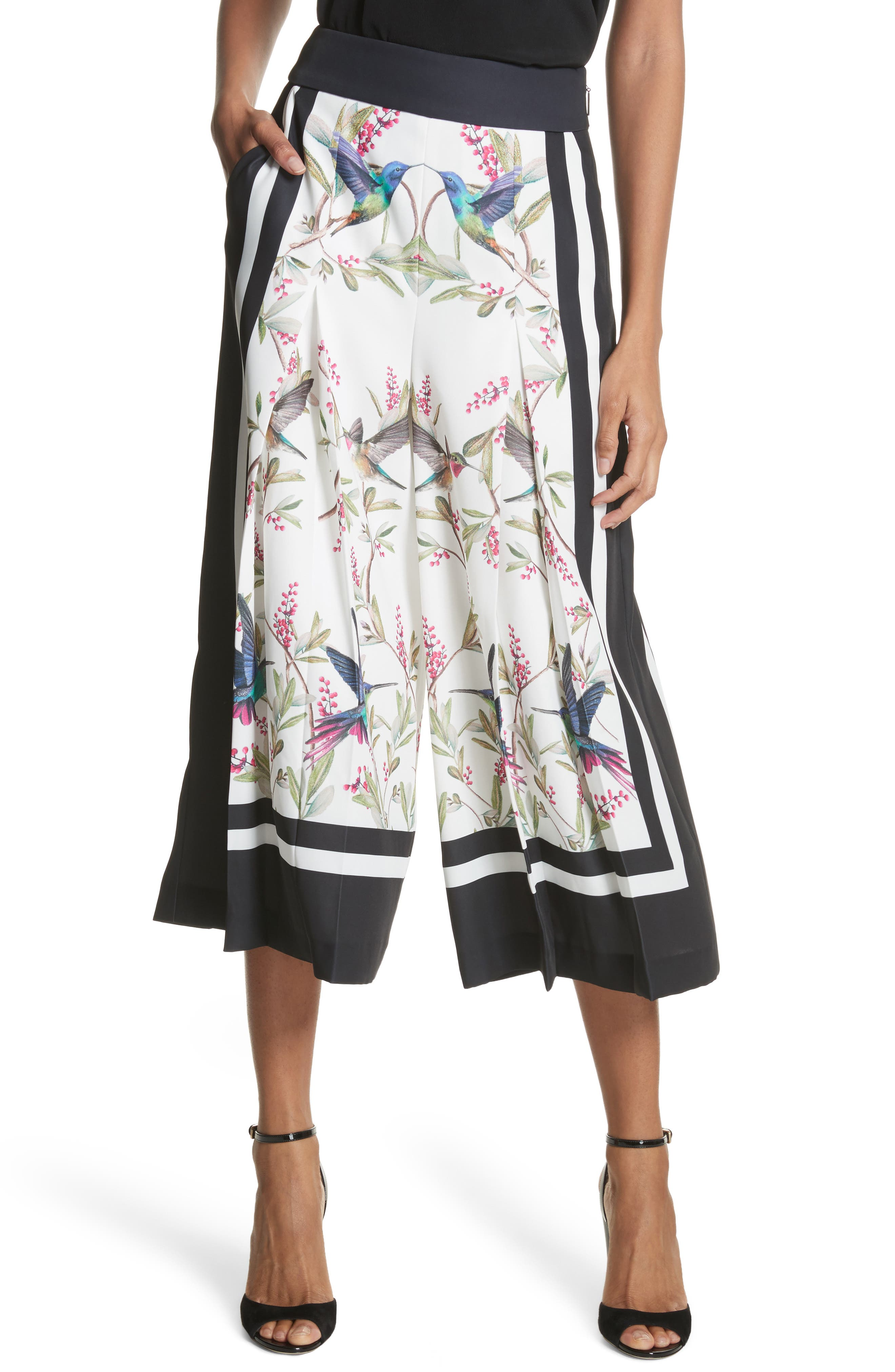 High Grove Wide Leg Culottes,                             Alternate thumbnail 2, color,                             White