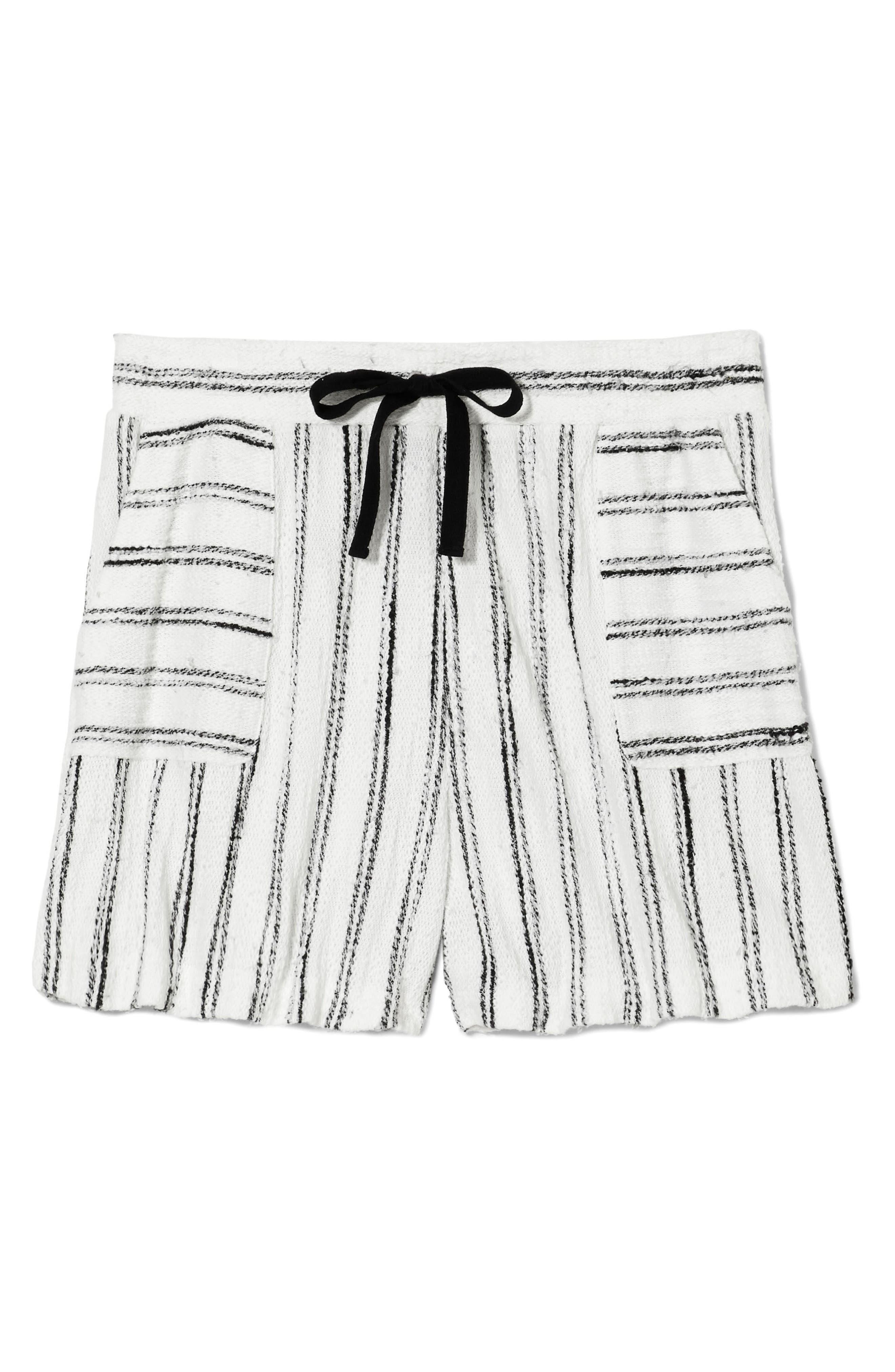 Drawstring Stripe Cotton Blend Shorts,                             Alternate thumbnail 4, color,                             Rich Black
