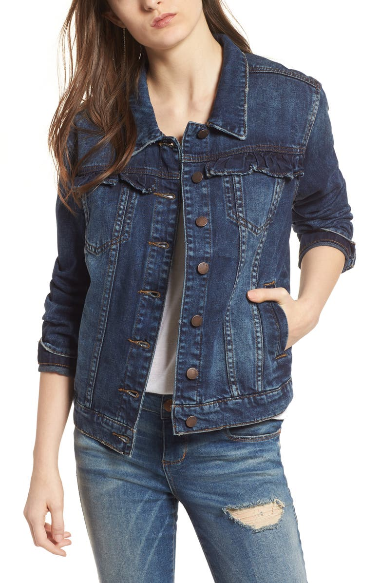 Ruffle Trim Boyfriend Denim Jacket