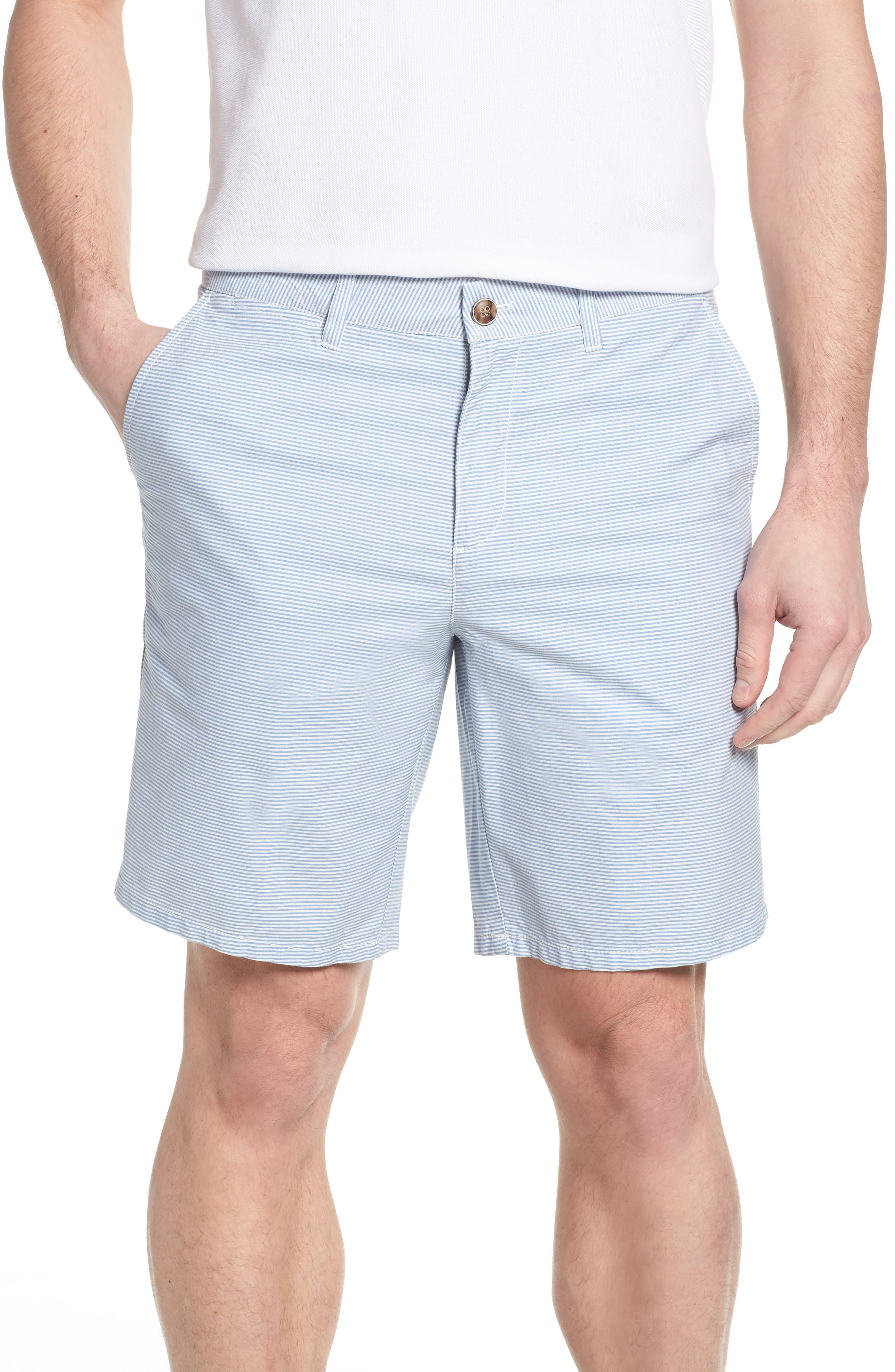 Geordy Regular Fit Pinstripe Shorts,                         Main,                         color, Gulf Blue