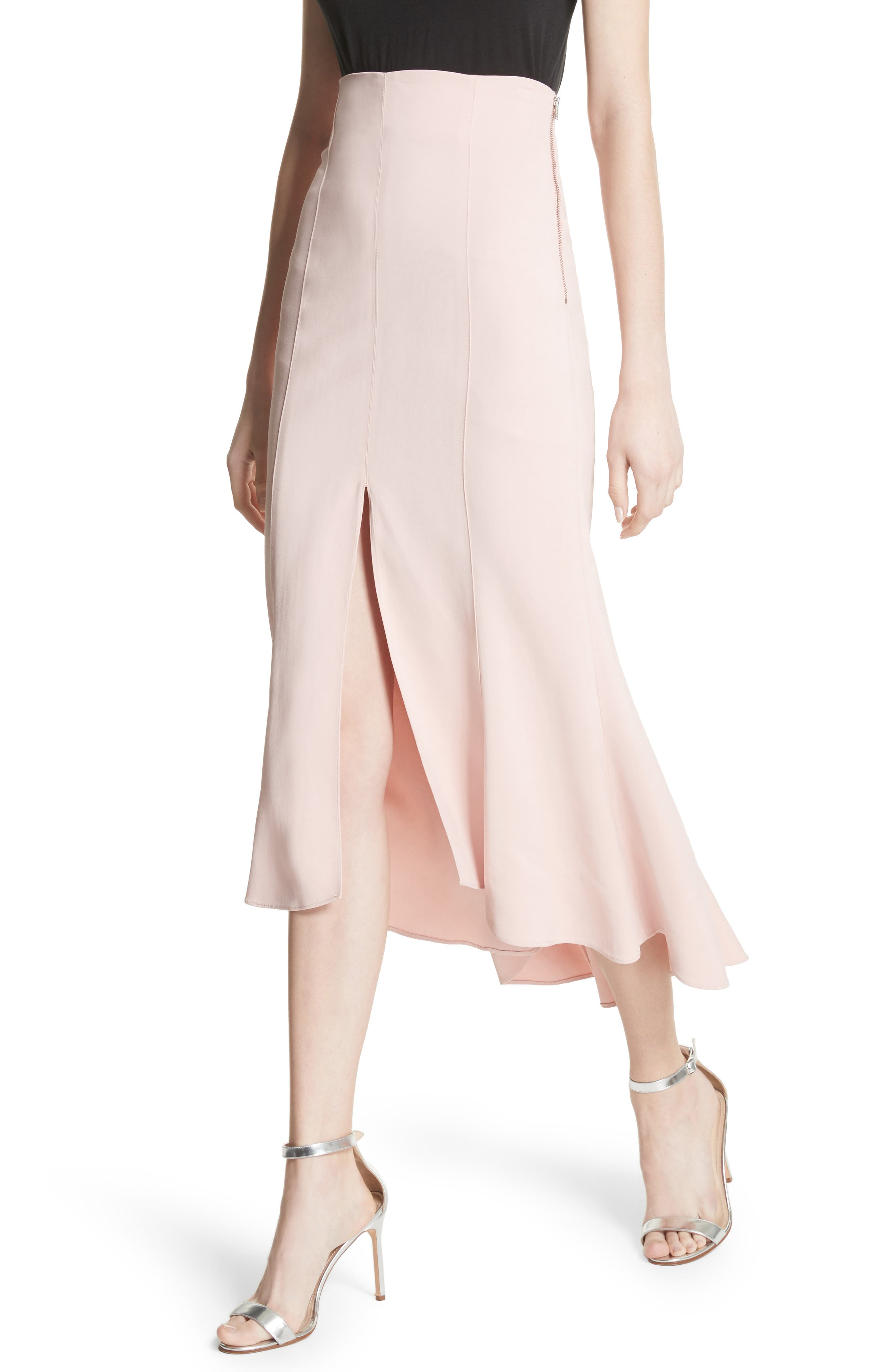 High Waist Midi Skirt,                             Alternate thumbnail 4, color,                             Cosmetic Pink