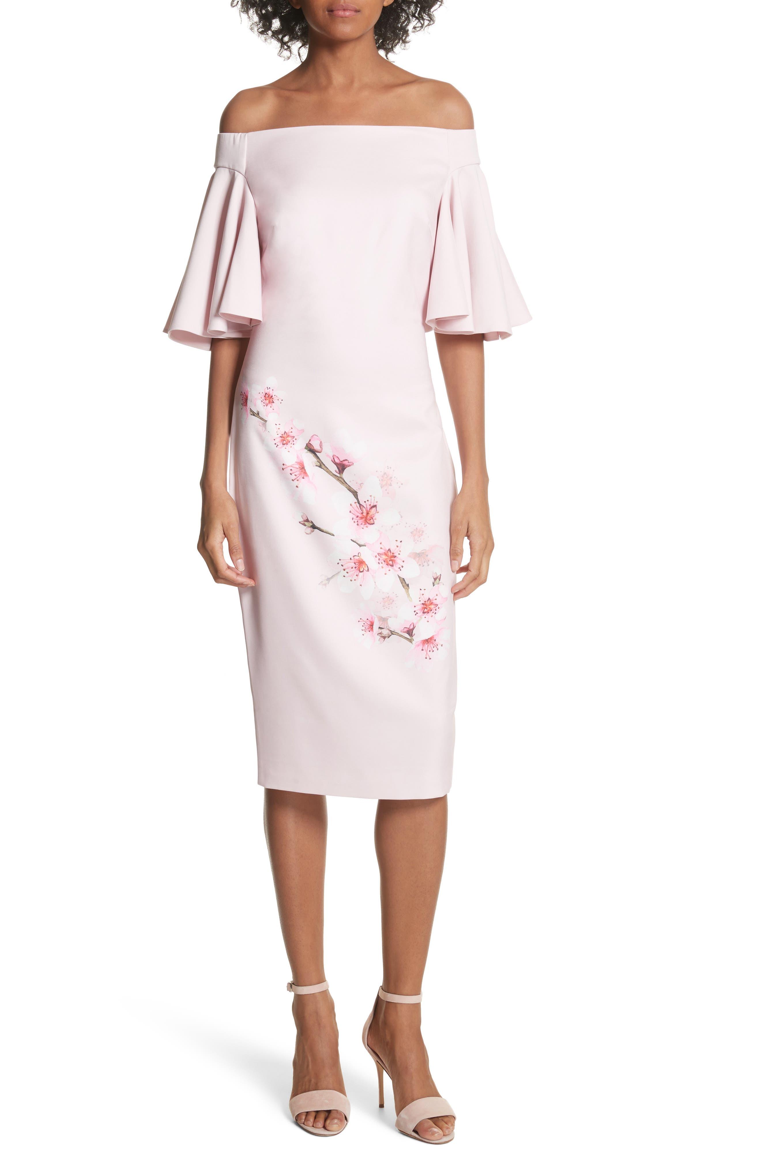 Soft Blossom Off the Shoulder Sheath Dress,                         Main,                         color, Light Pink