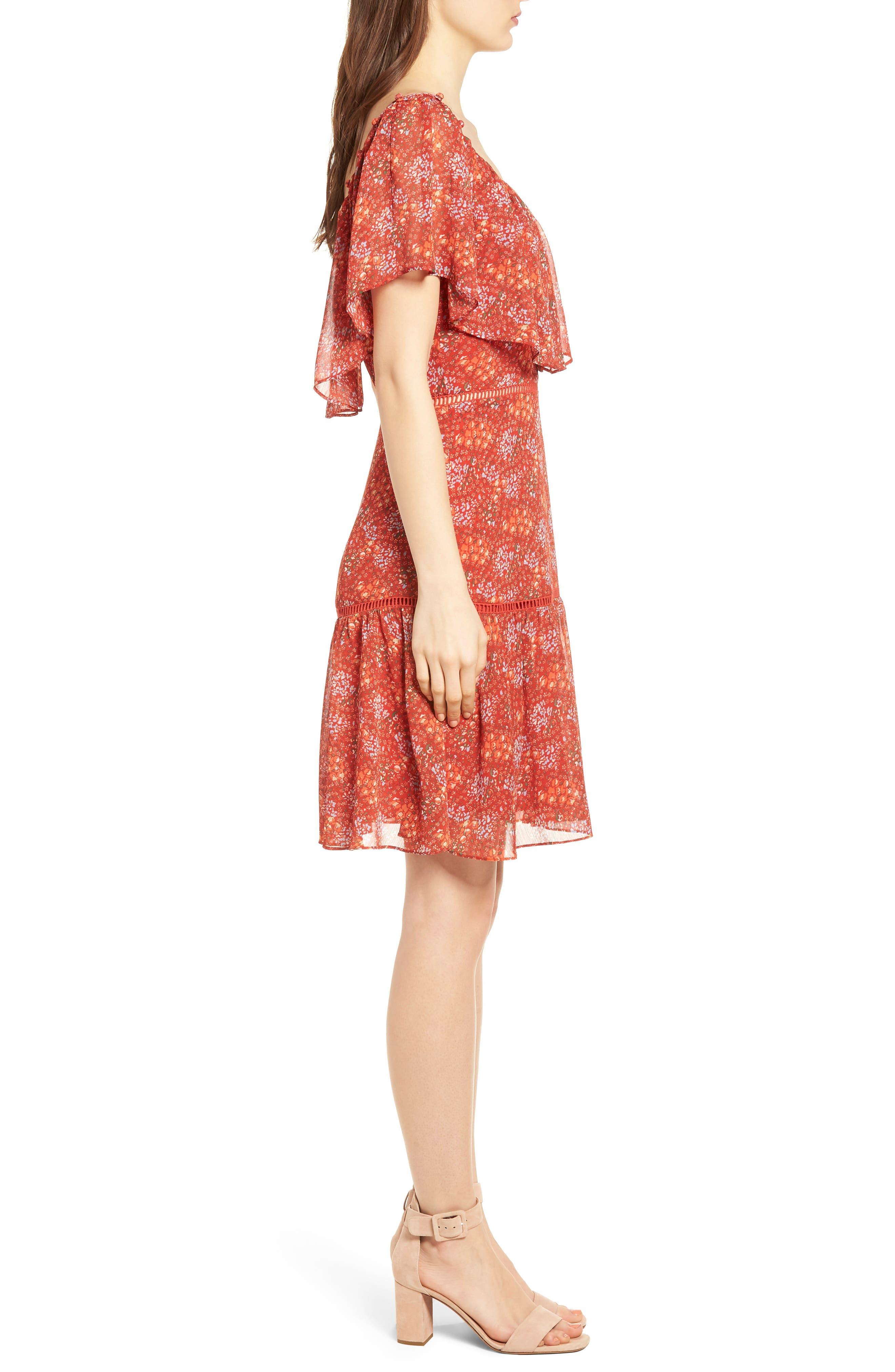 Lynne Chiffon Dress,                             Alternate thumbnail 3, color,                             Red Multi
