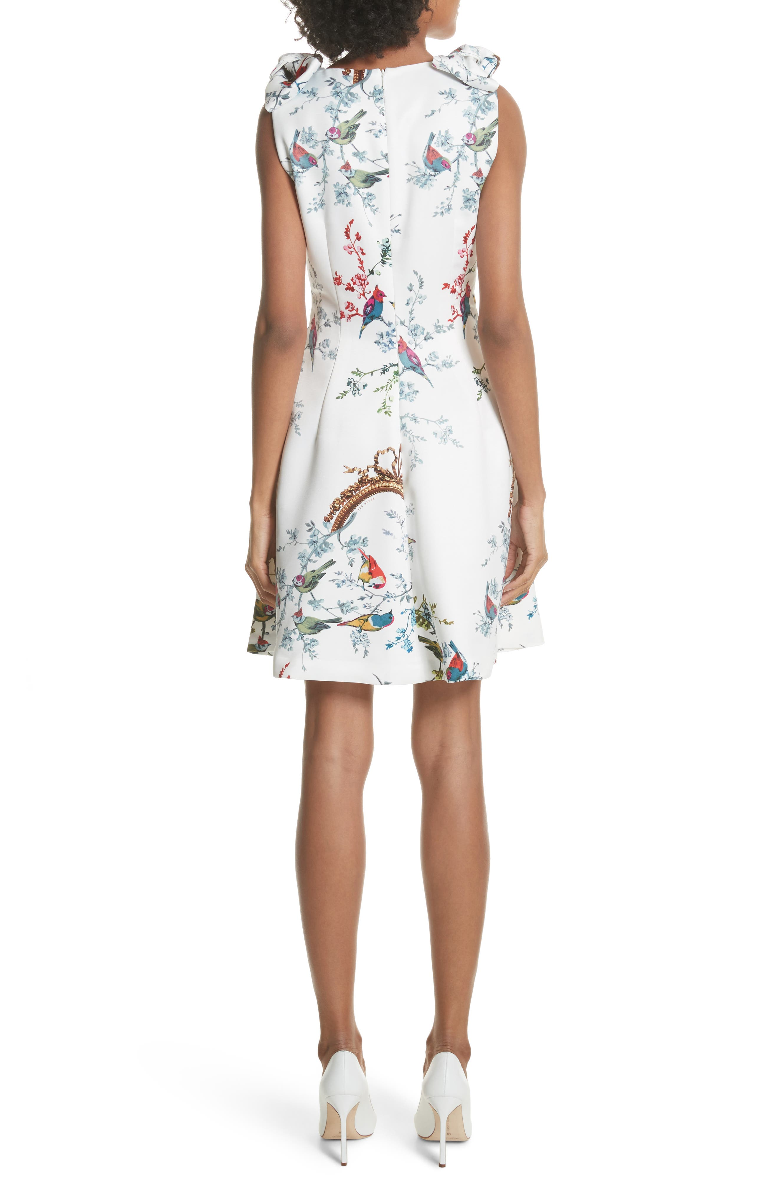Opulent Fauna Fit & Flare Dress,                             Alternate thumbnail 2, color,                             White