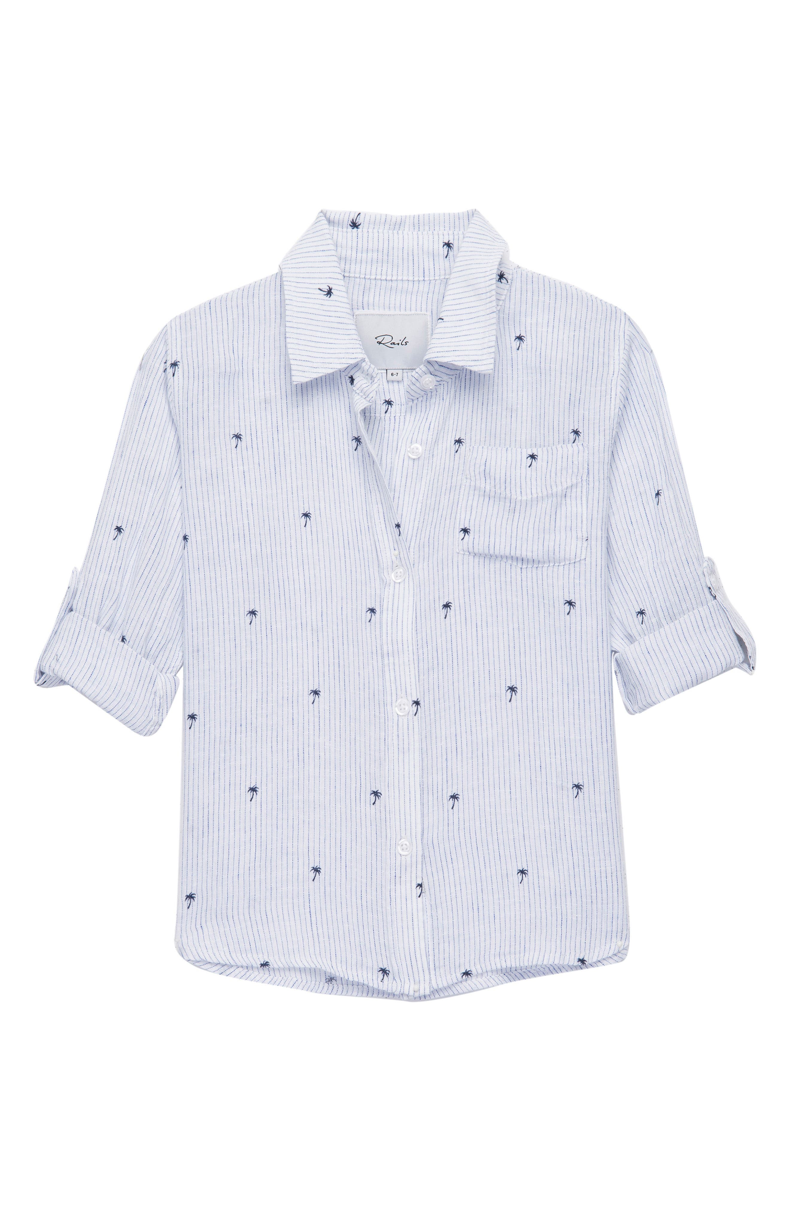 Cora Palm Woven Shirt,                             Main thumbnail 1, color,                             Mini Palms On Royal Stripe