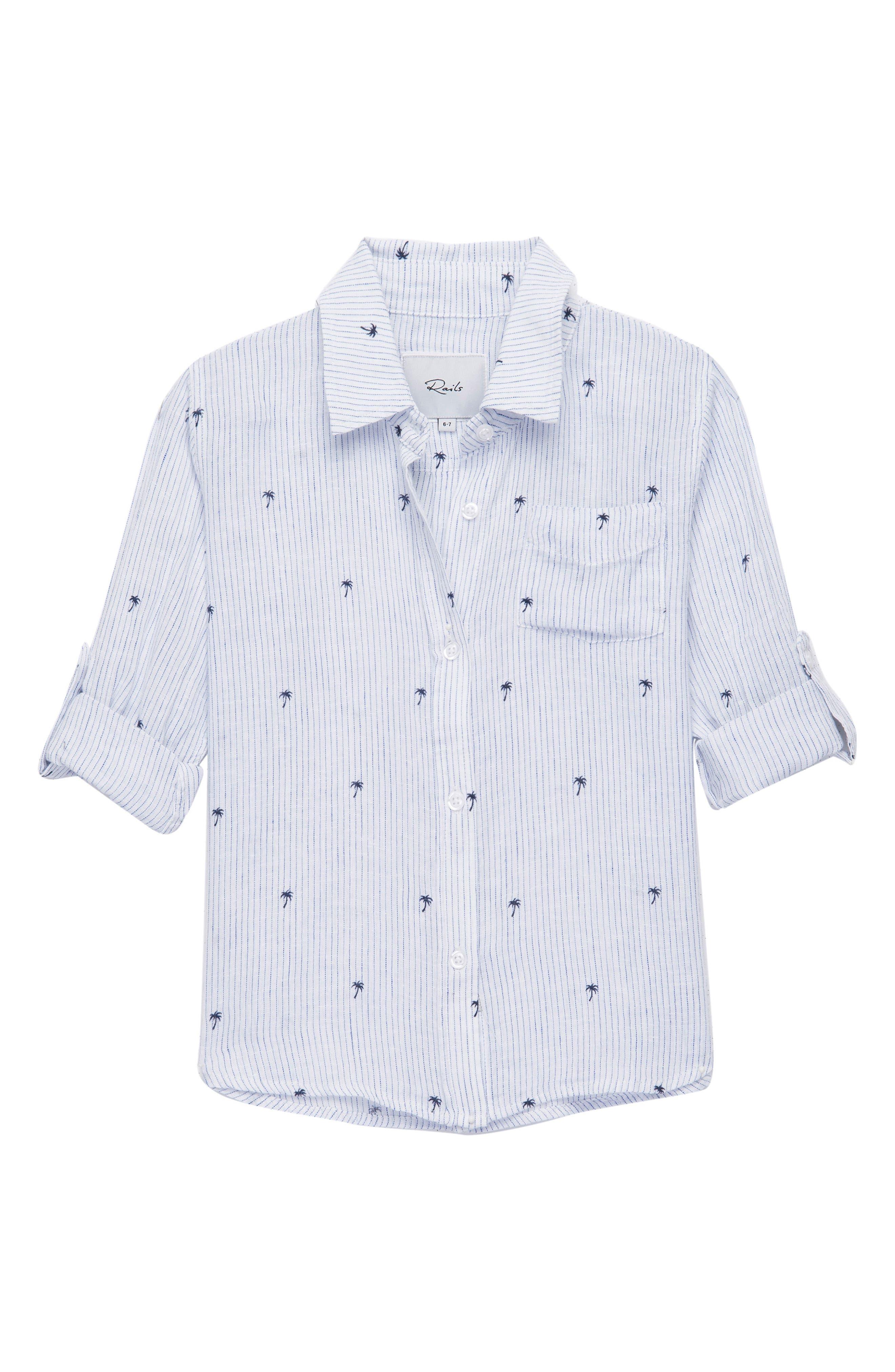 Cora Palm Woven Shirt,                         Main,                         color, Mini Palms On Royal Stripe