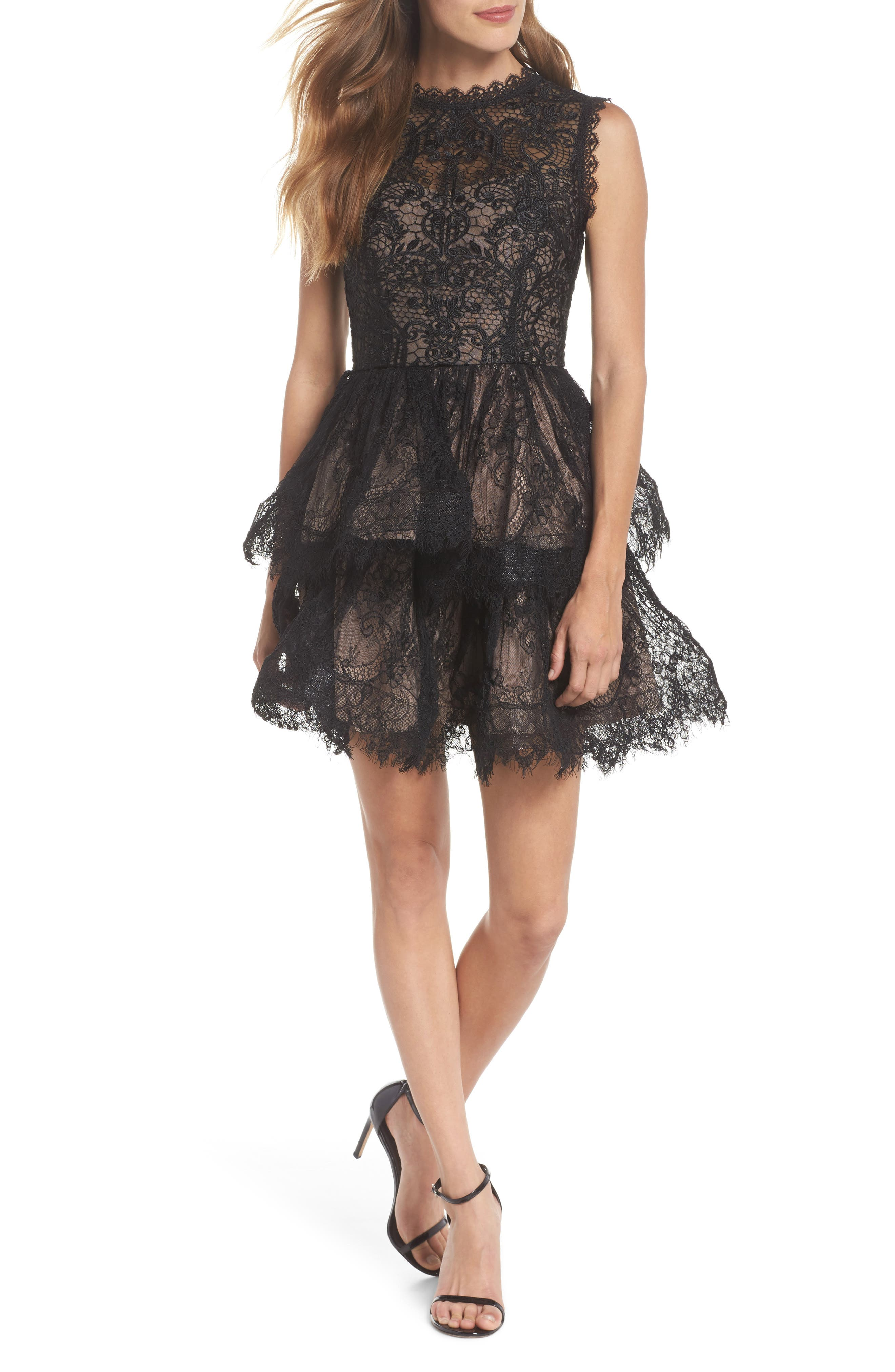 Florence Fit & Flare Dress,                         Main,                         color, Black