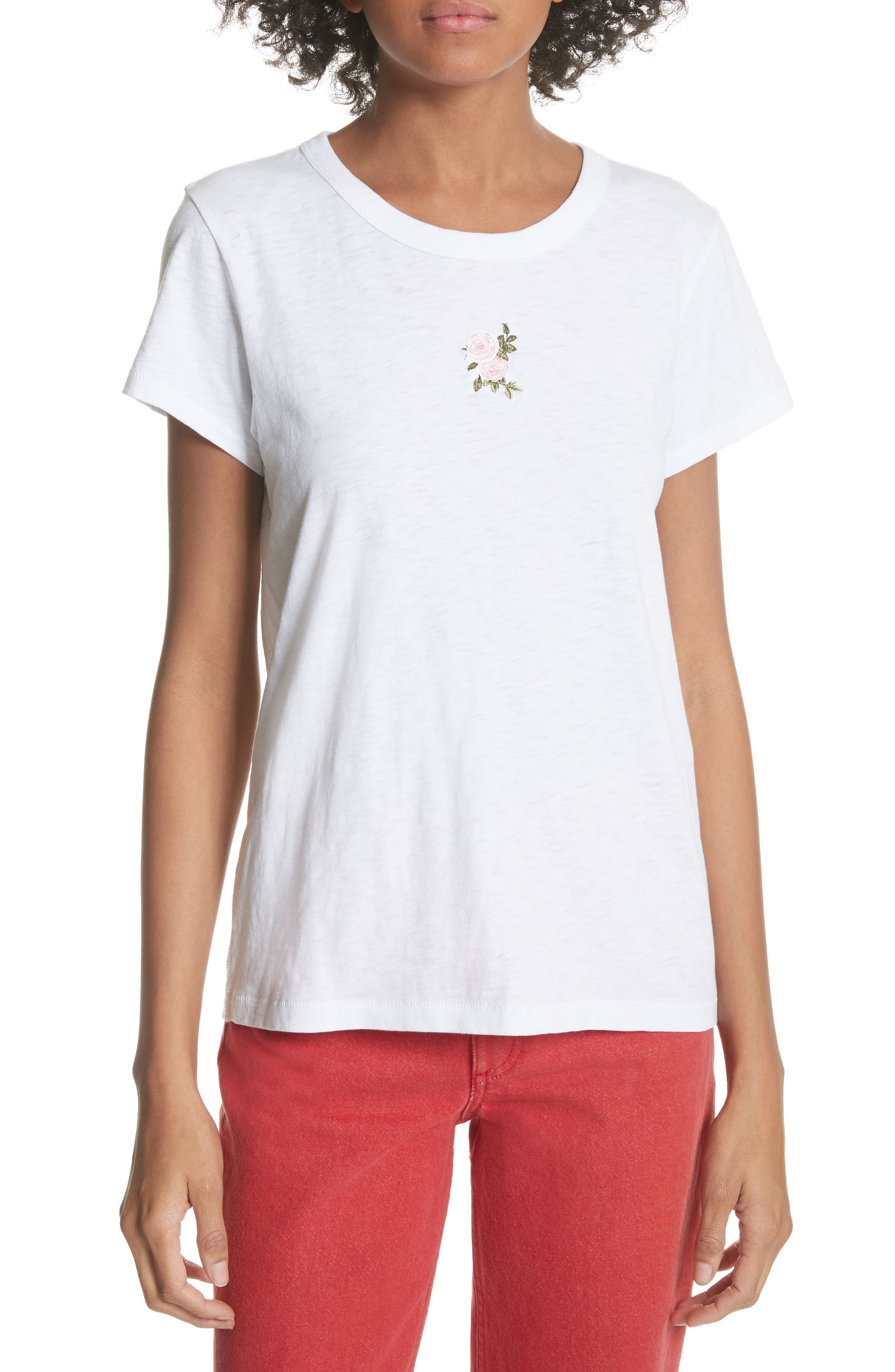 Rose Embroidered Tee,                         Main,                         color, White