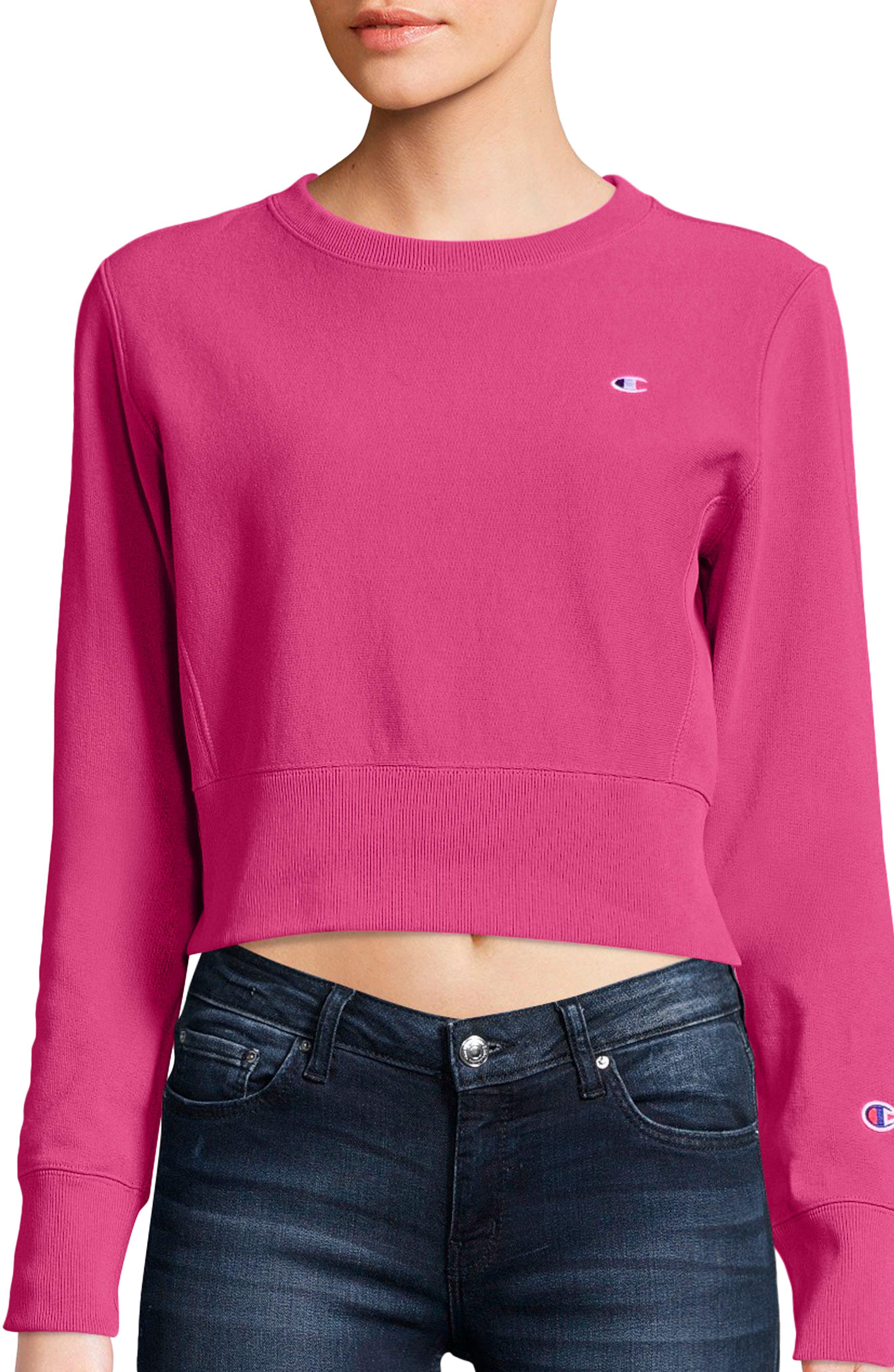 Reverse Weave Crop Sweatshirt,                             Main thumbnail 1, color,                             Pink