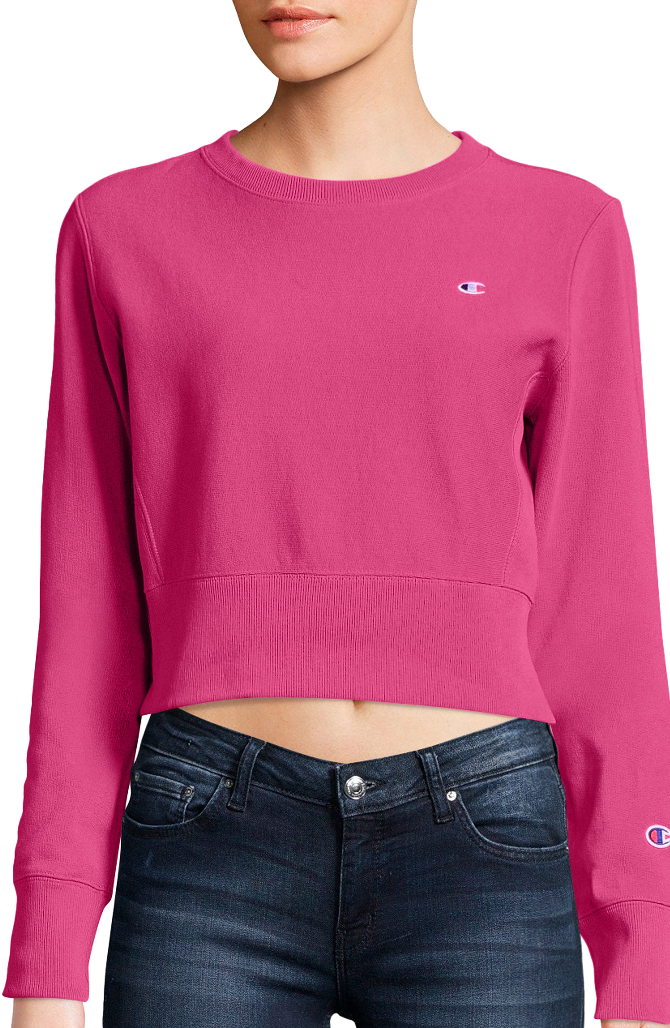 Reverse Weave Crop Sweatshirt,                         Main,                         color, Pink
