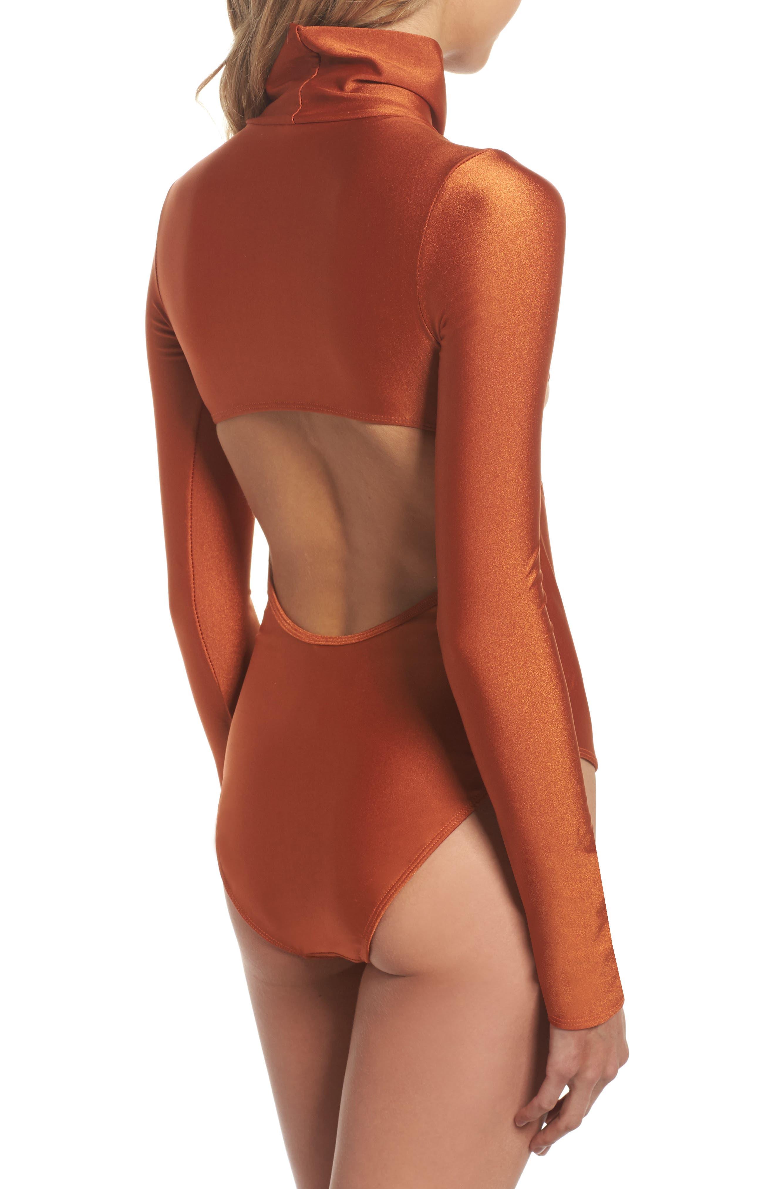 Long Sleeve Bodysuit,                             Alternate thumbnail 2, color,                             Ginger Orange