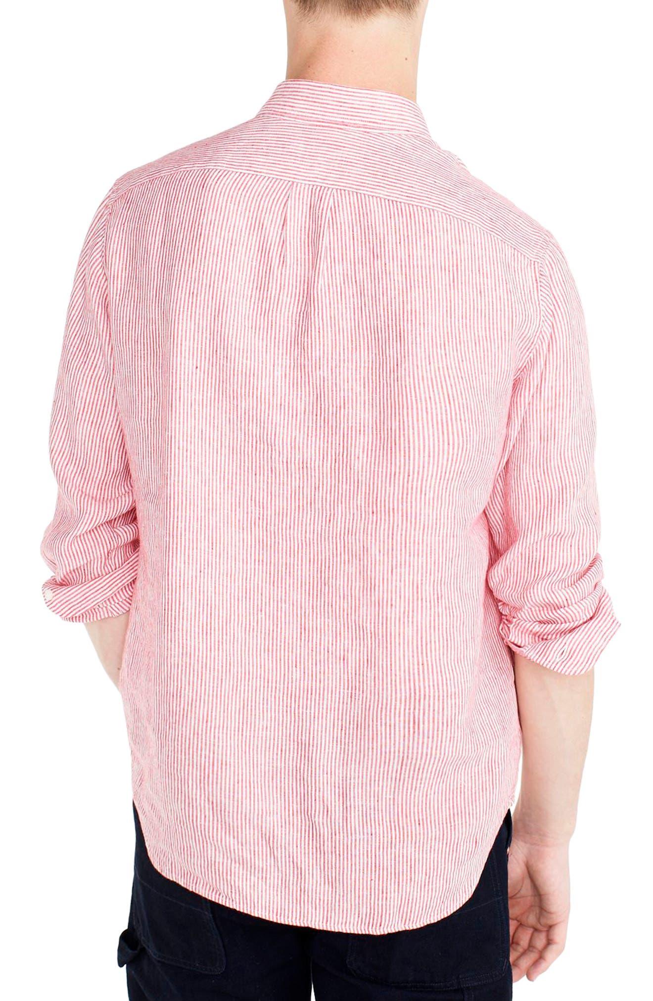 Slim Fit Stripe Irish Linen Shirt,                             Alternate thumbnail 2, color,                             Engine Red