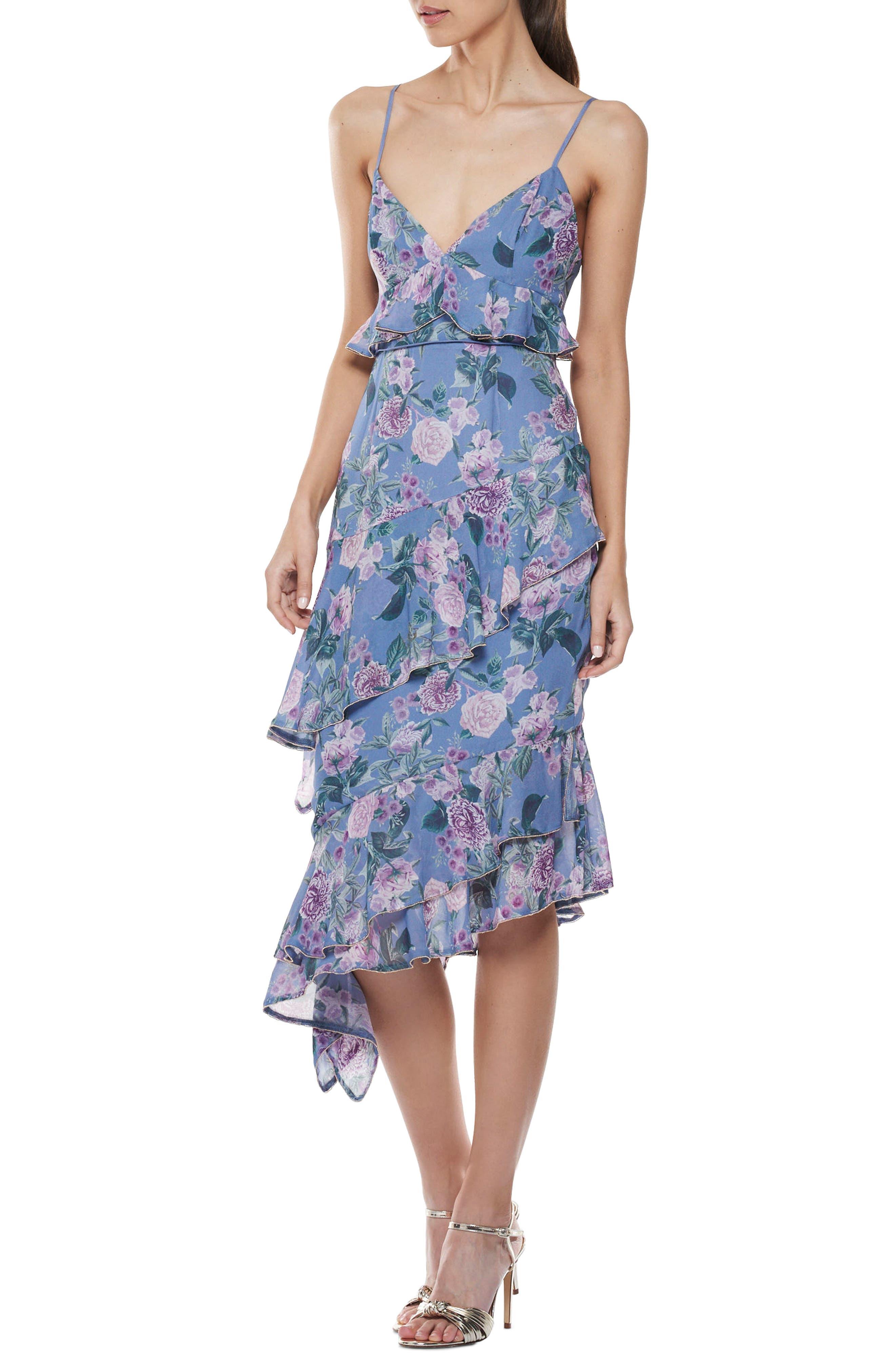 Here & Now Asymmetric Midi Dress,                             Main thumbnail 1, color,                             Print