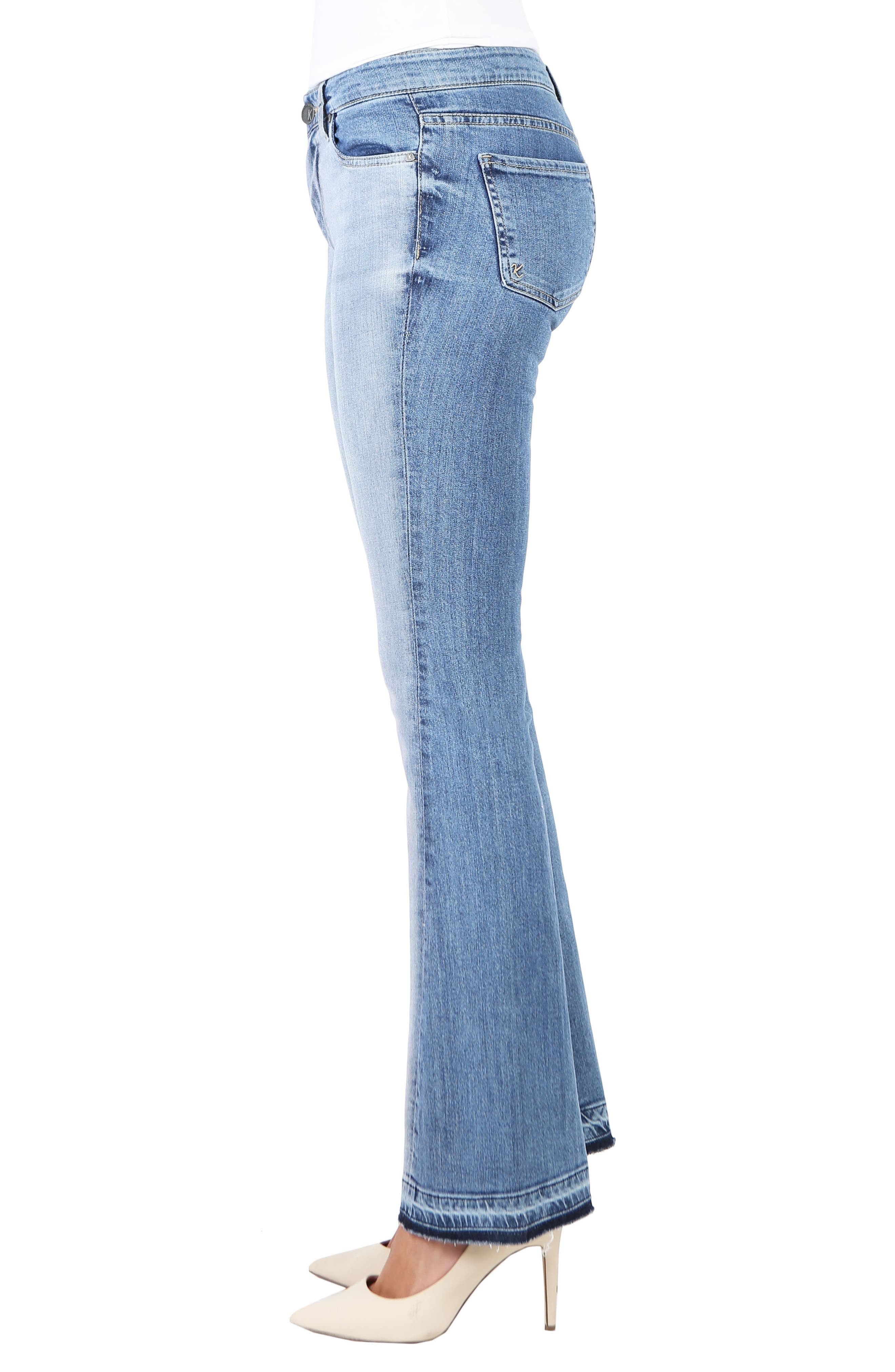 Baby Bootcut Contrast Release Hem Jeans,                             Alternate thumbnail 3, color,                             Coached