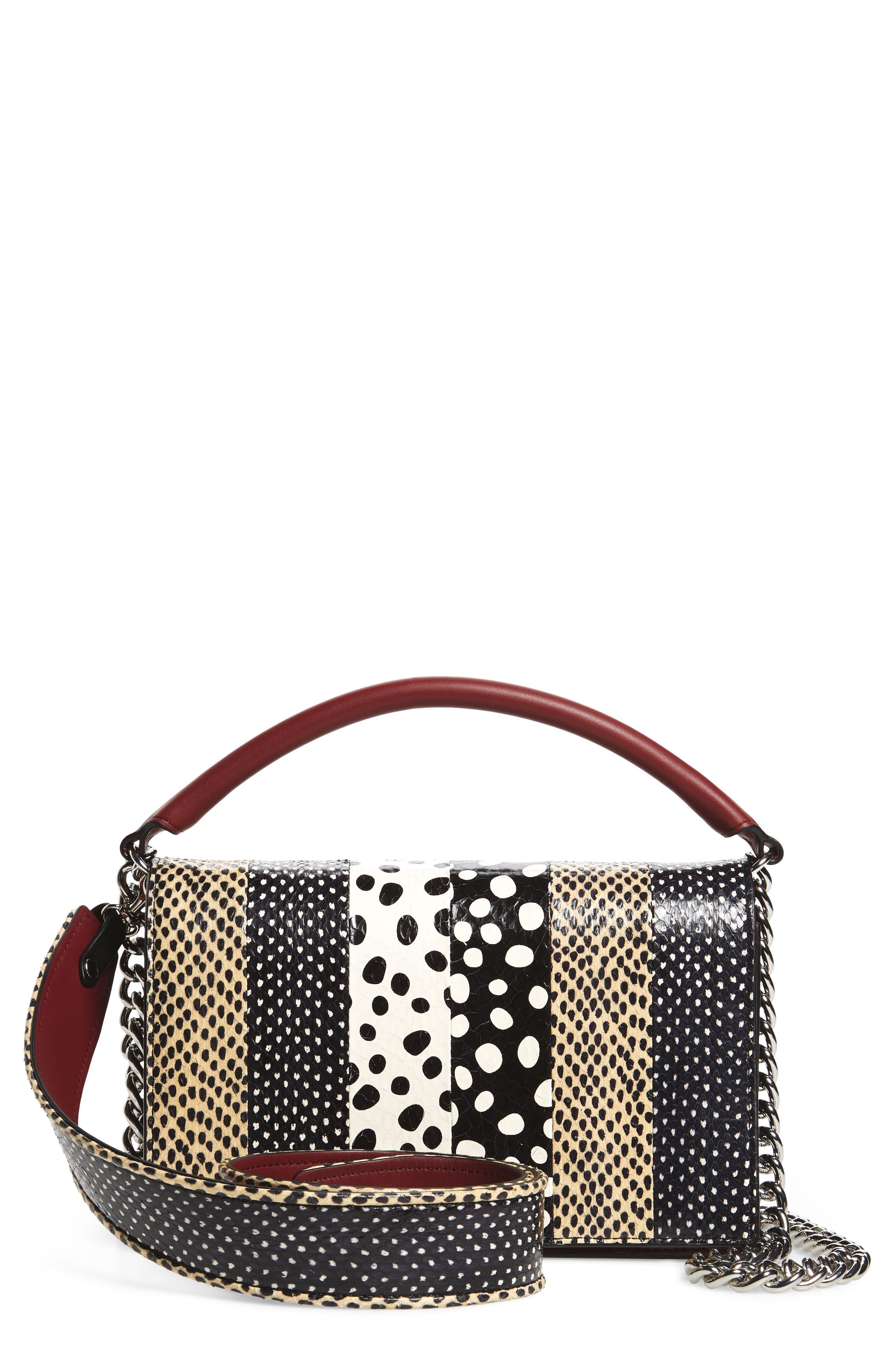 Diane von Furstenberg Bonne Soirée Leather & Genuine Snakeskin Top Handle Bag
