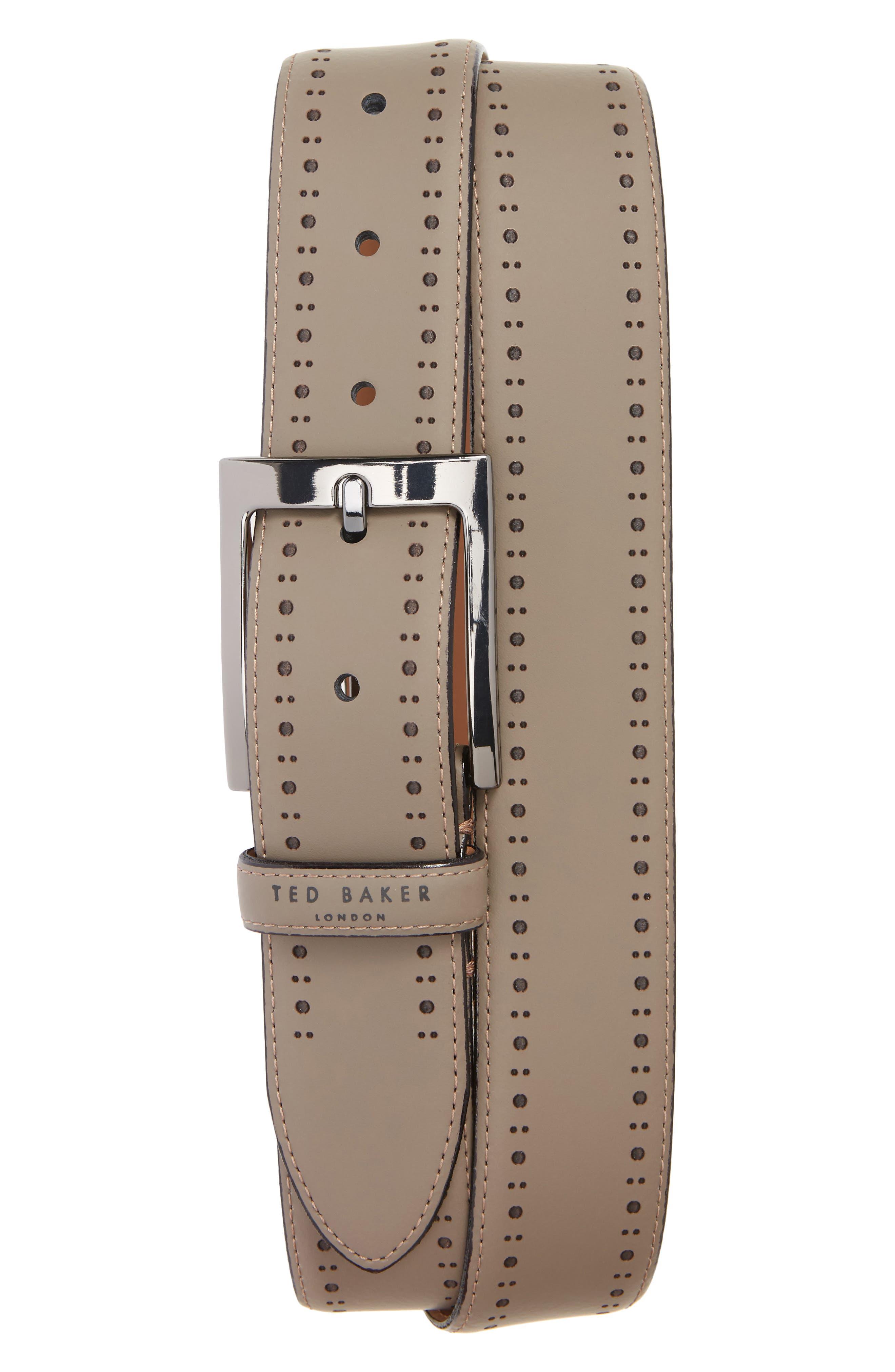 Havan Brogue Leather Belt,                             Main thumbnail 1, color,                             Grey
